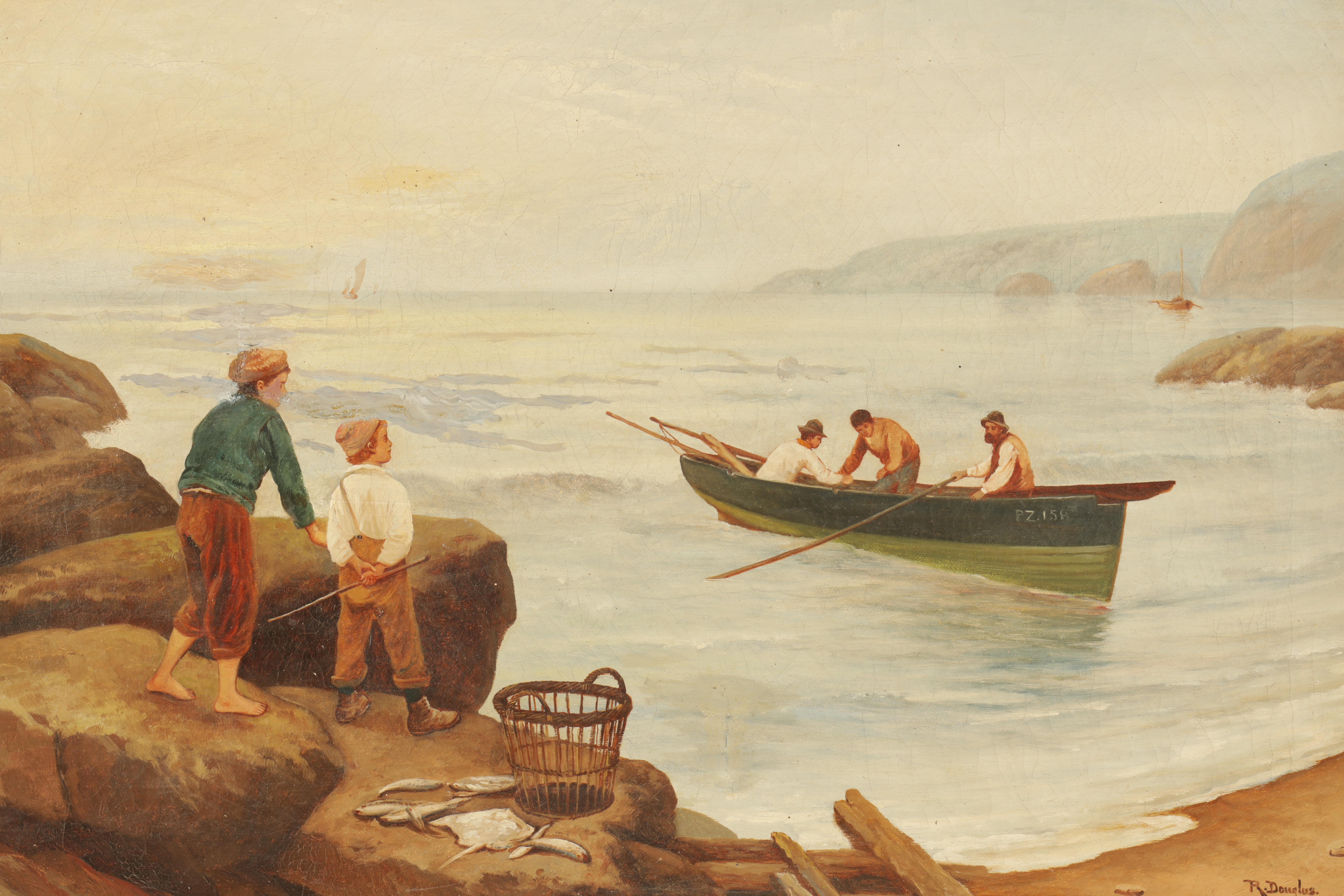 R DOUGLAS AN EARLY 20TH CENTURY OIL ON CANVAS Cornish beach with fisherman - signed 39cm high 60cm - Image 2 of 4