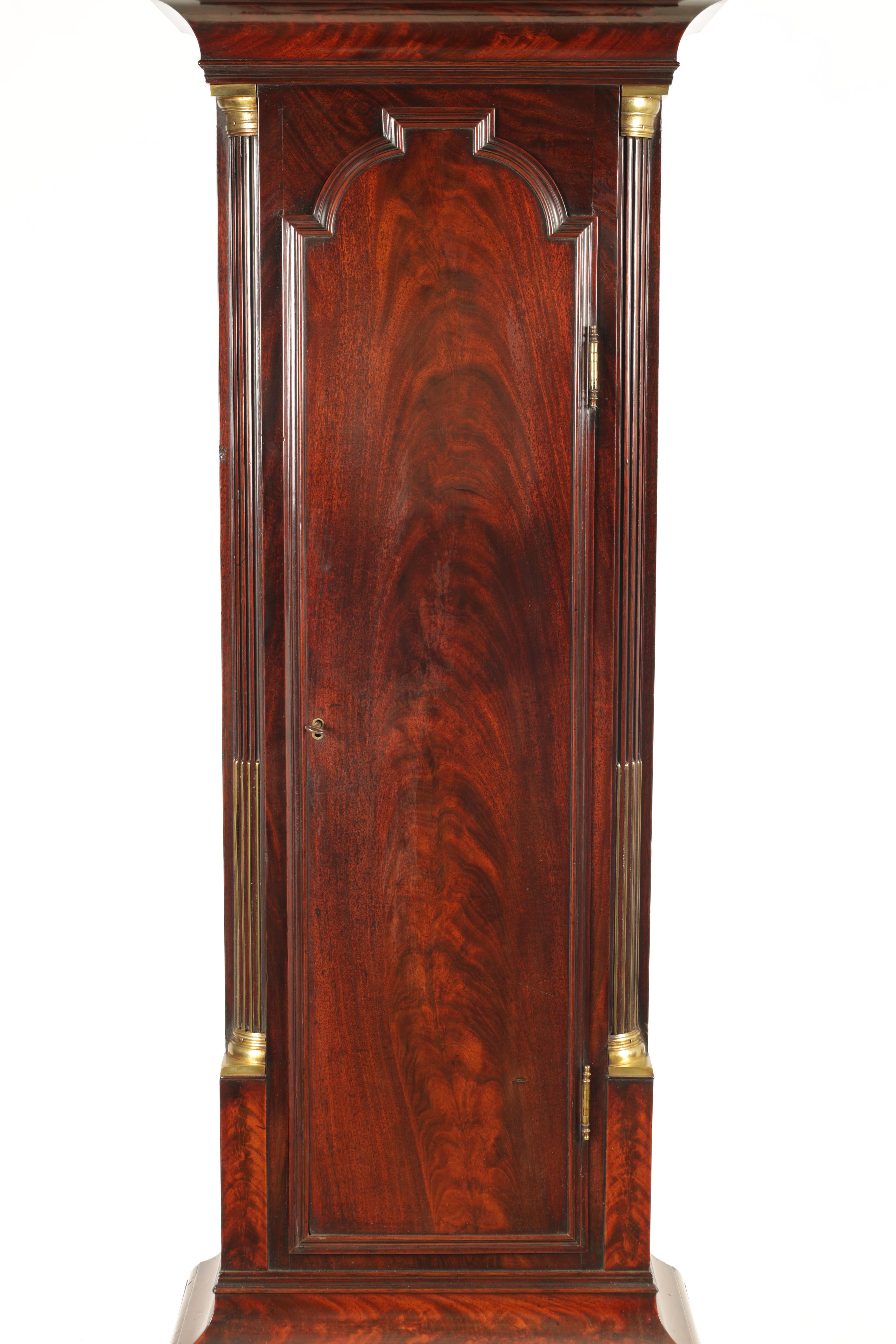 THOMAS RUSSELL, LONDON A GEORGE III FIGURED MAHOGANY LONGCASE CLOCK the arched moulded hood above - Image 3 of 5