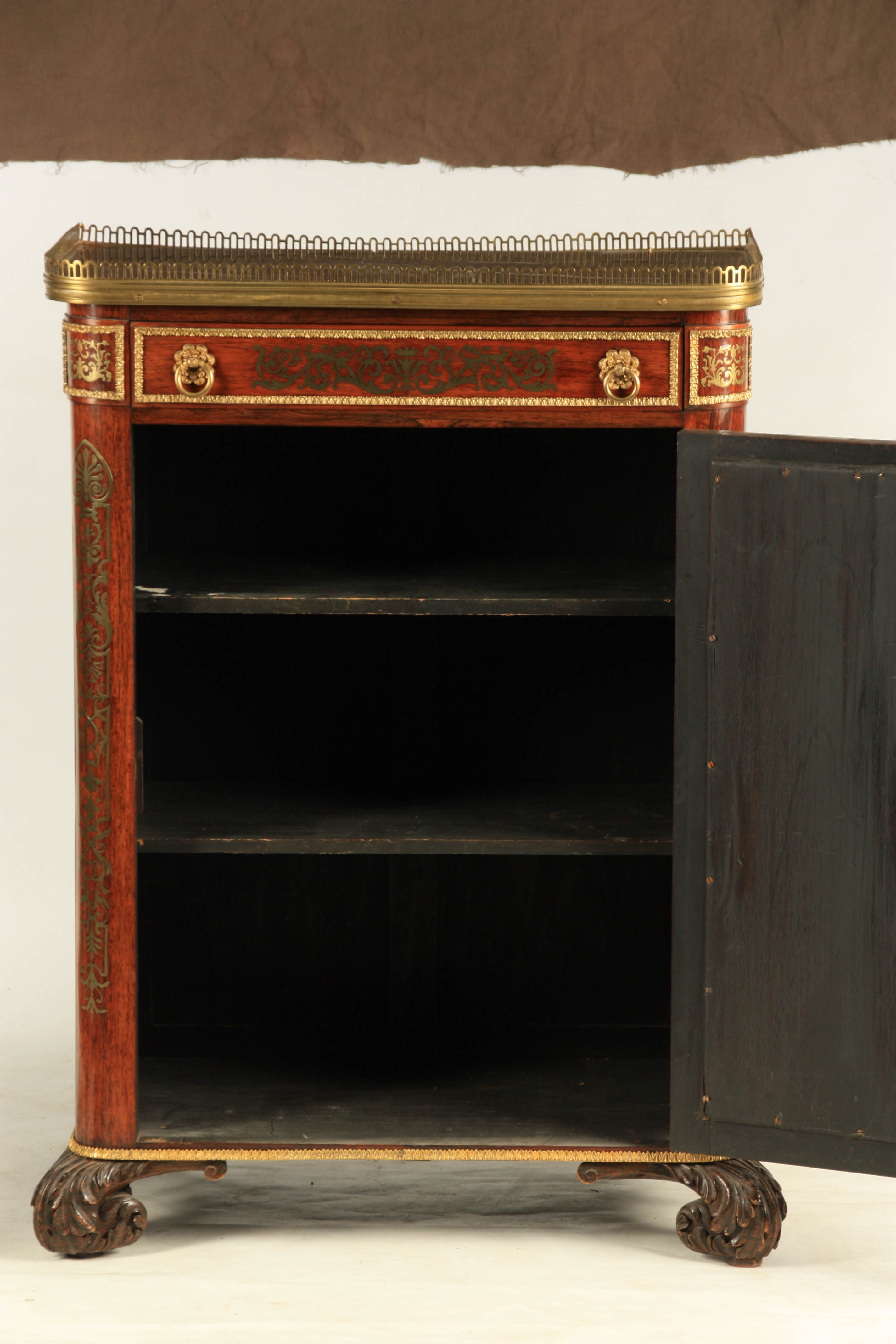 A FINE REGENCY BRASS INLAID ROSEWOOD SIDE CABINET IN THE MANNER OF JOHN MCCLEAN the brass - Image 7 of 7