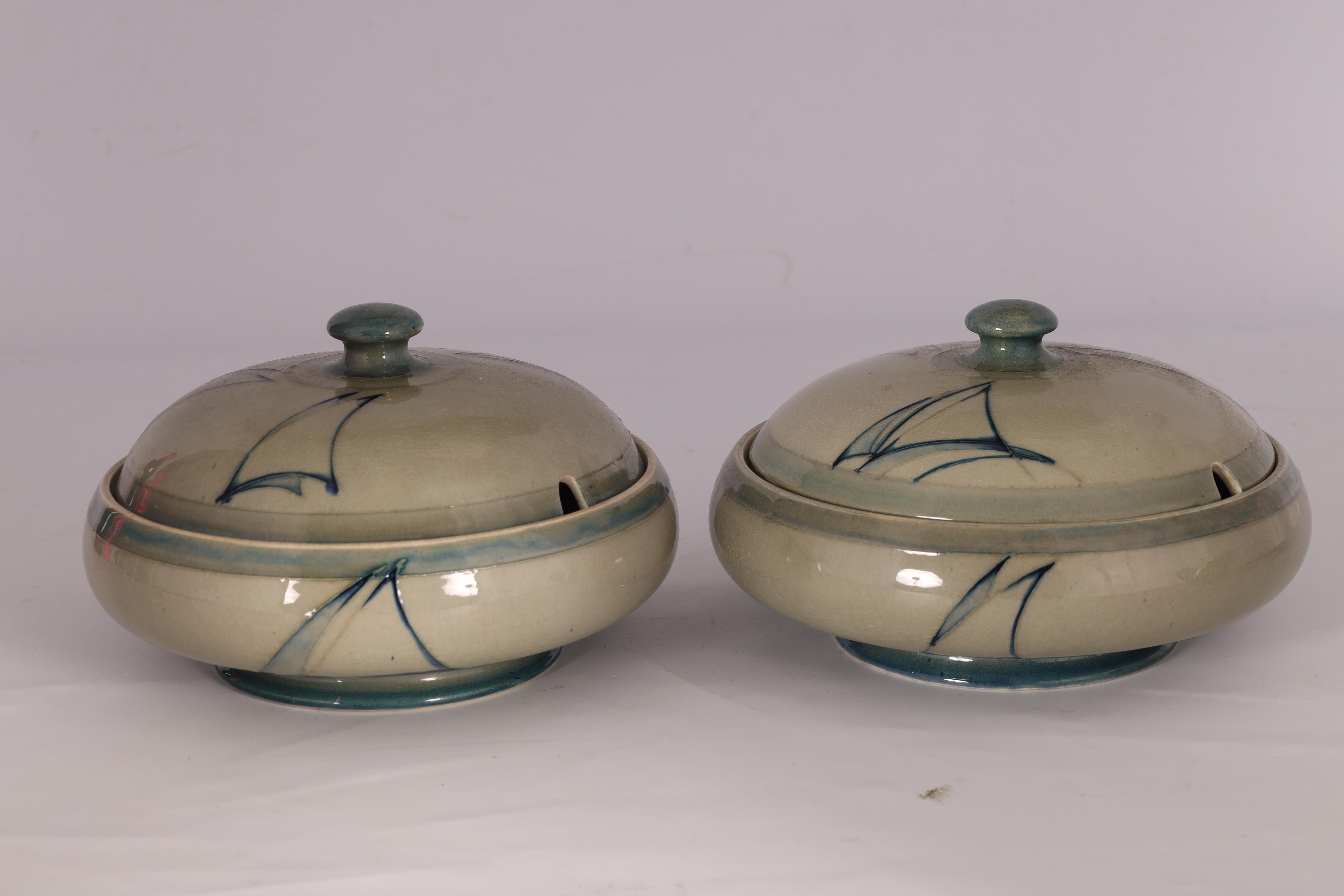 A PAIR OF MOORCROFT LIDDED TABLE TUREENS decorated in the Yacht pattern on a celadon ground, 19. - Image 3 of 12