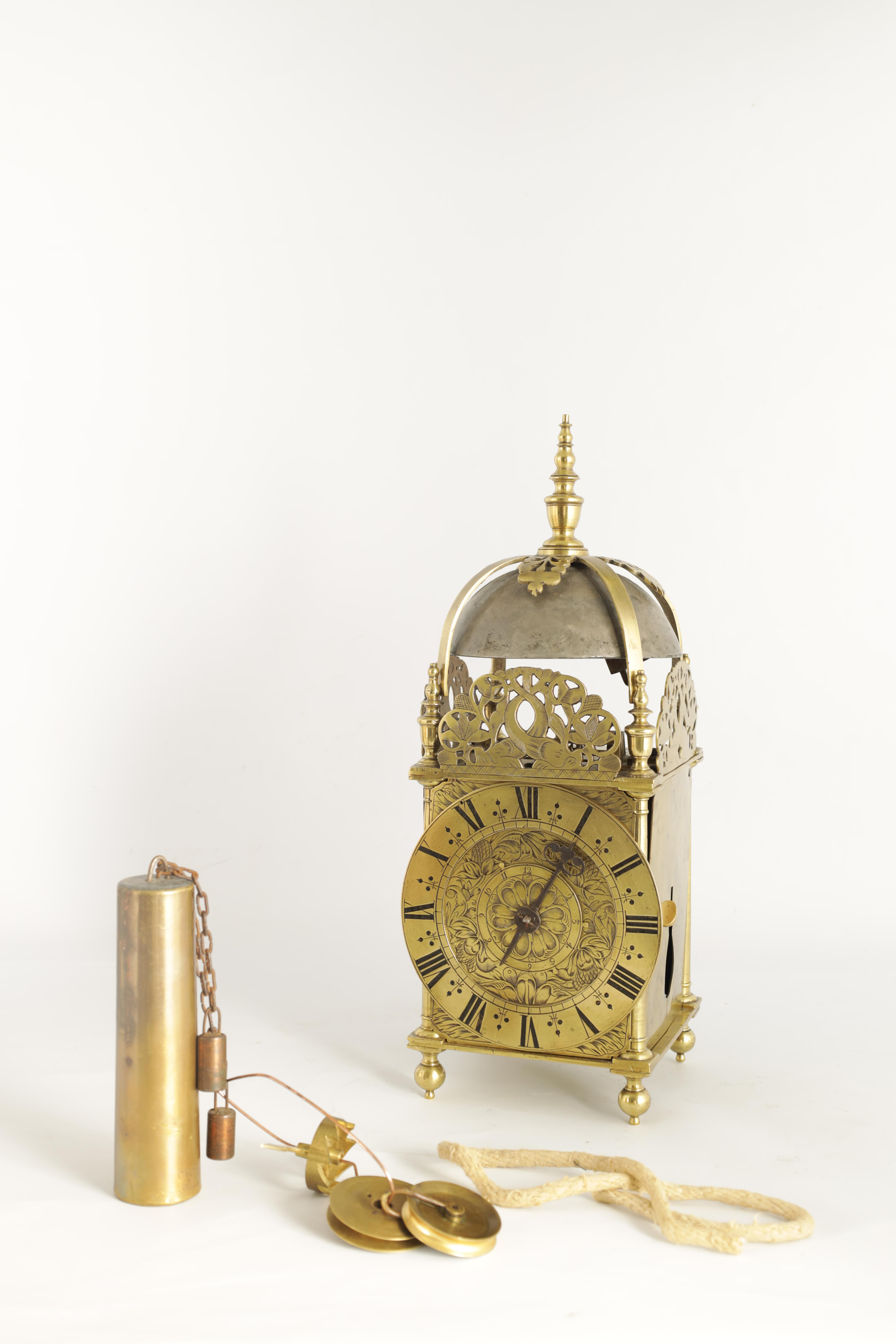 A FINE CHARLES II BRASS LANTERN CLOCKthe posted frame with side doors, engraved fretwork - Image 8 of 9