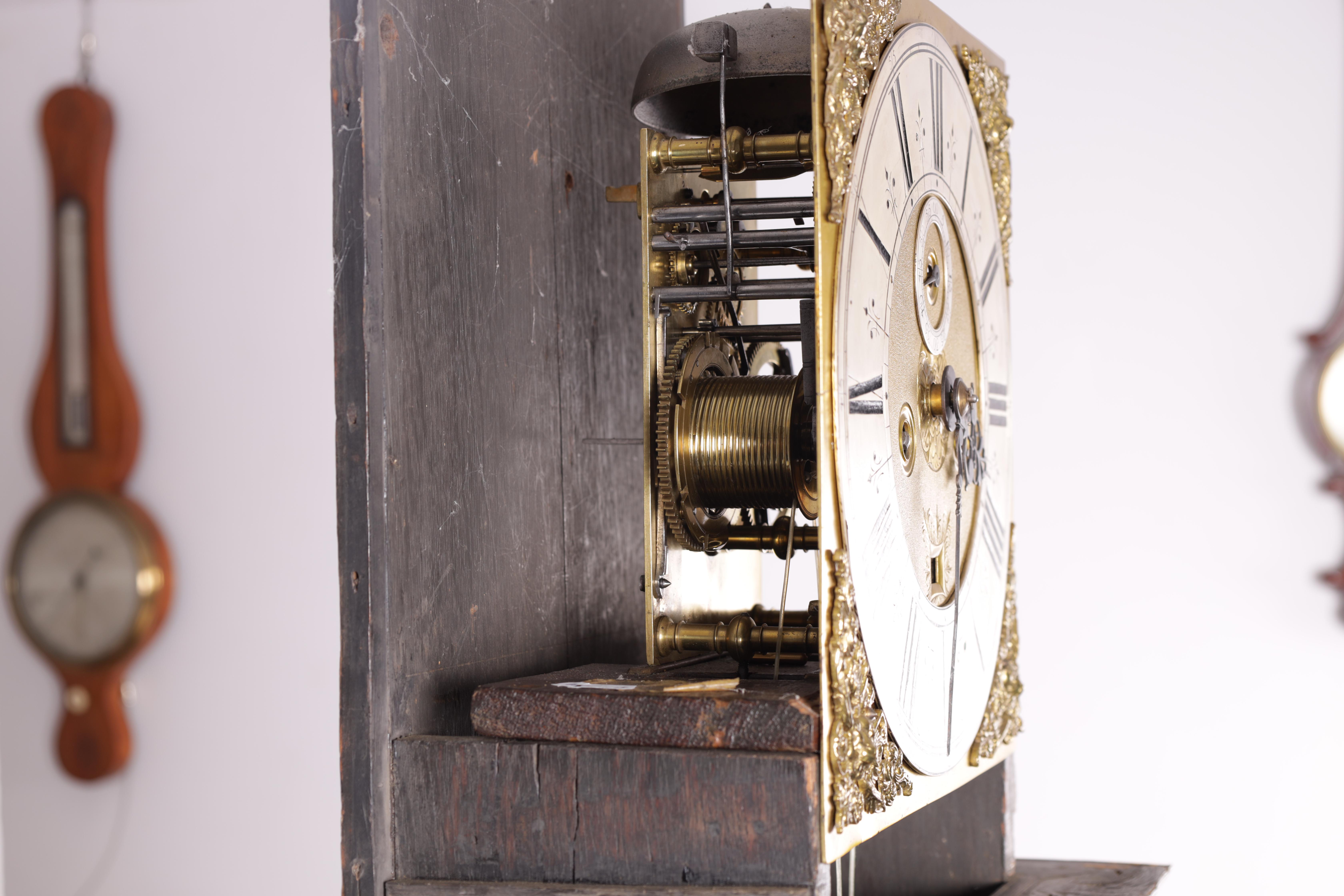 """ROBERT DINGLY, LONDON A LATE 17TH CENTURY 11"""" MARQUETRY INLAID WALNUT LONGCASE CLOCK the hood with - Image 2 of 8"""