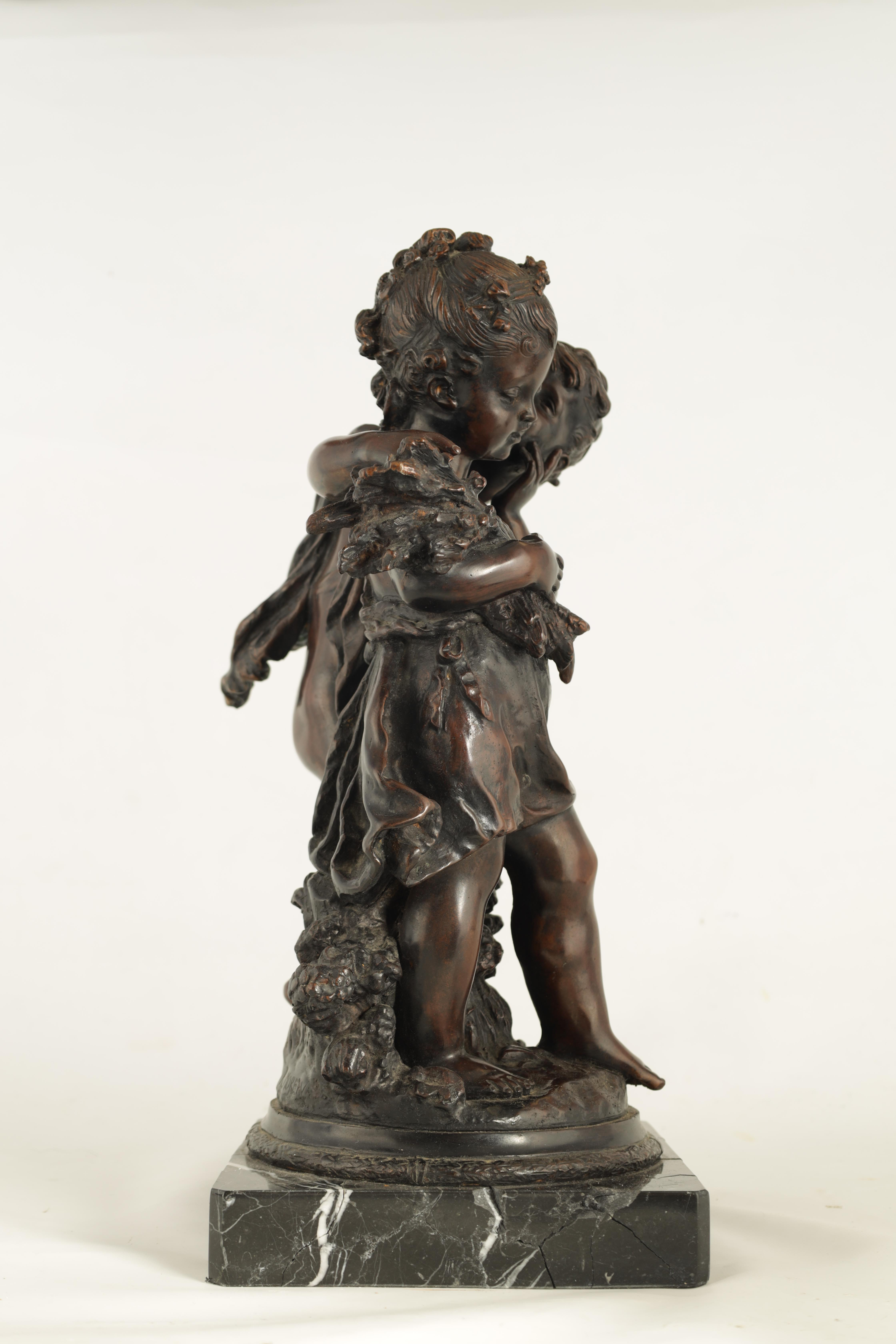 A 19TH CENTURY STYLE FRENCH BRONZE FIGURE GROUP depicting a young male and female -signed R.MOREAV - - Image 5 of 9