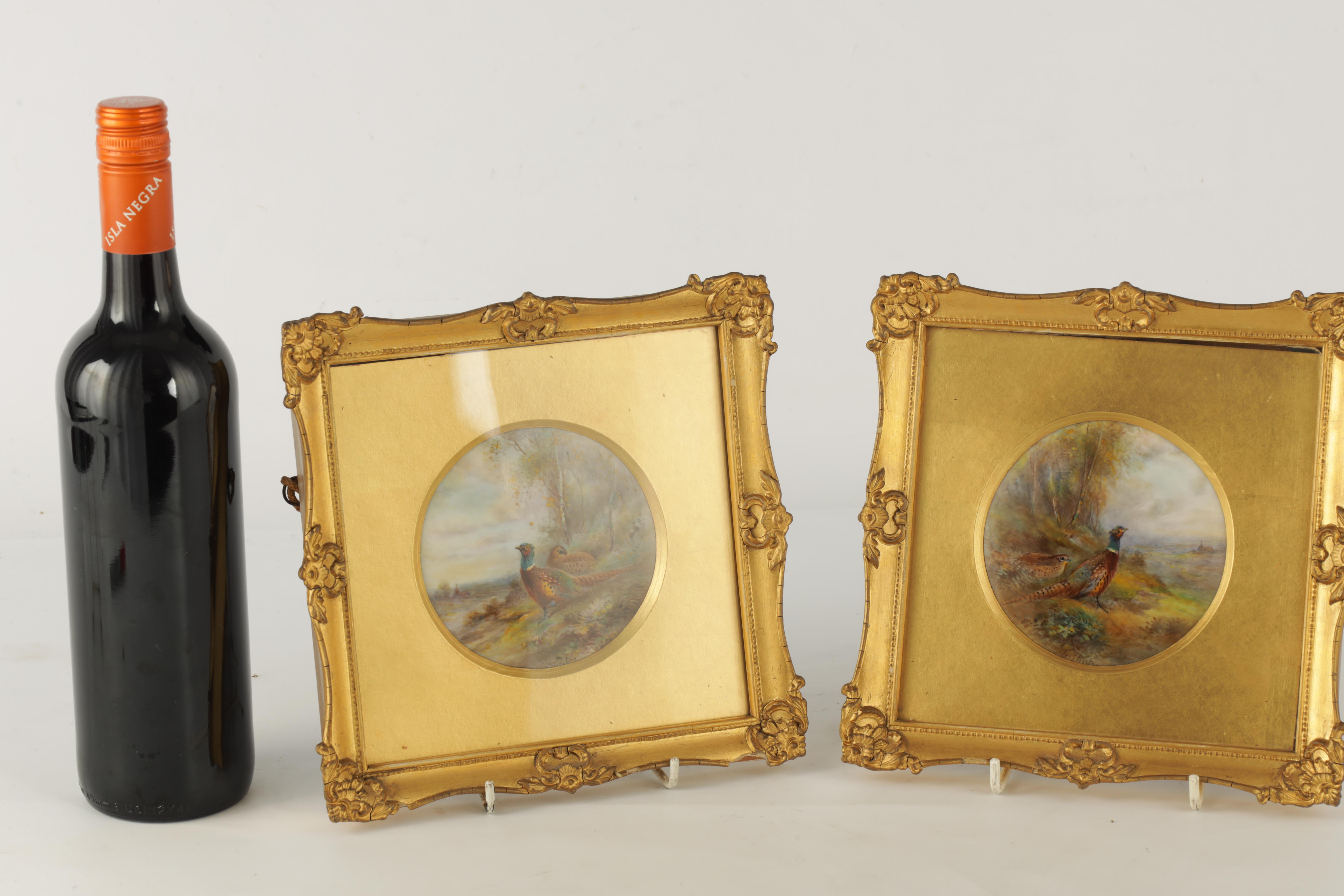 JAMES STINTON 1870-1961. A SIGNED PAIR OF ROYAL WORCESTER CIRCULAR PORCELAIN PLAQUES painted with - Image 2 of 8