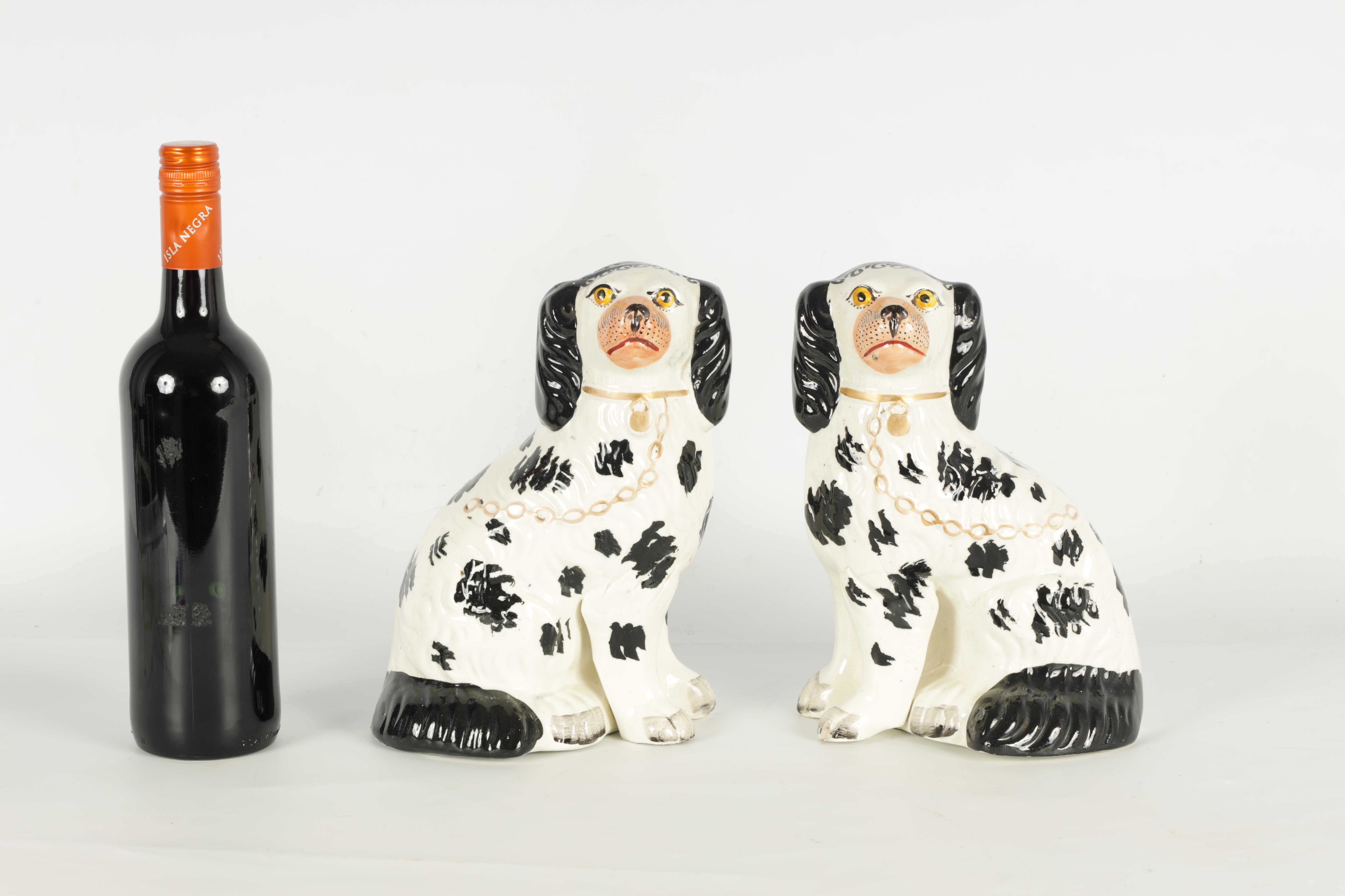 A PAIR OF 19TH CENTURY STAFFORDSHIRE 'DISRAELI CURL' SPANIELS 23cm high - Image 2 of 11