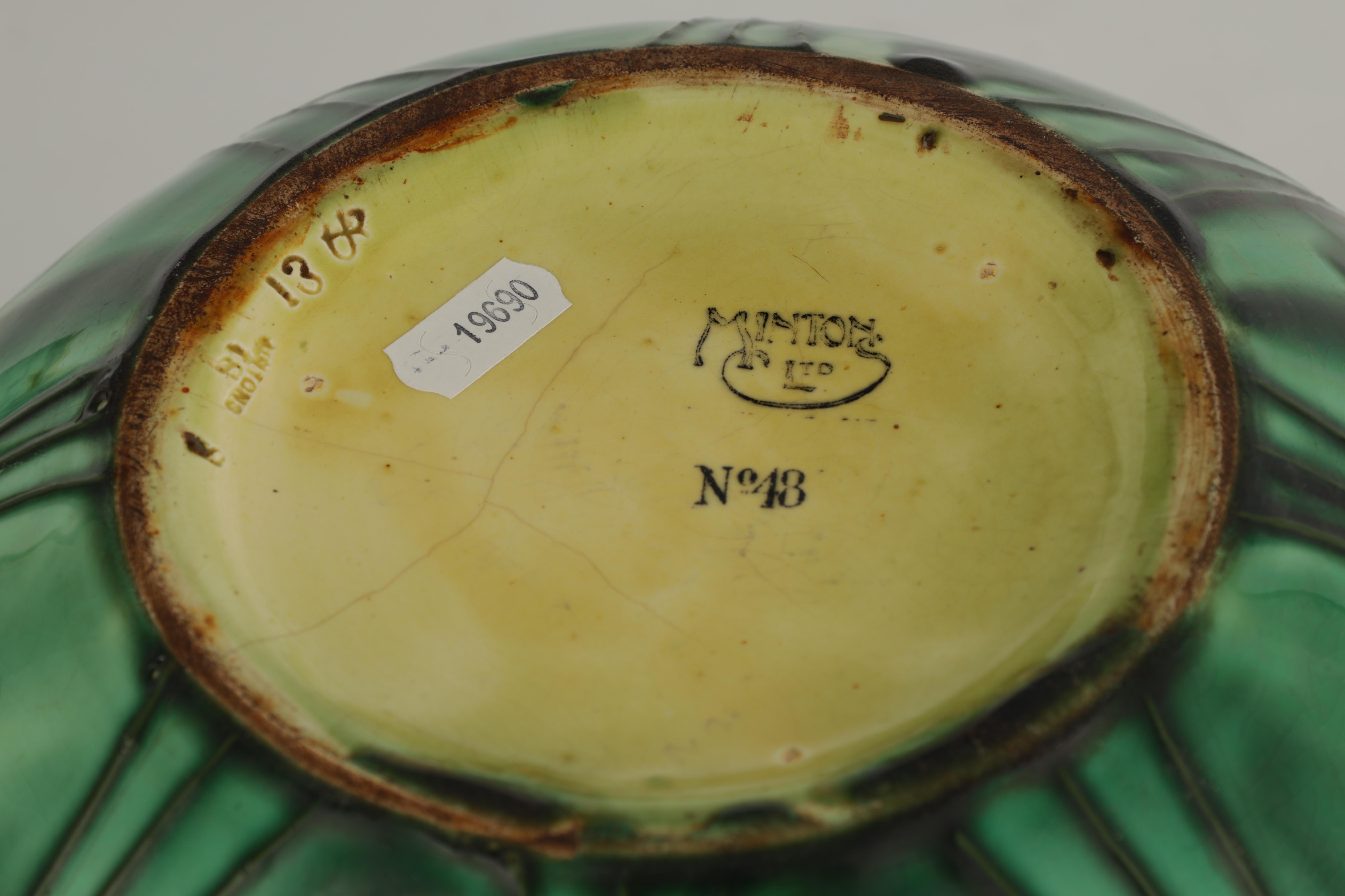 A MINTON LTD SECESSIONIST WARE LARGE BULBOUS JARDINIERE tube lined and decorated with stylised green - Image 5 of 5