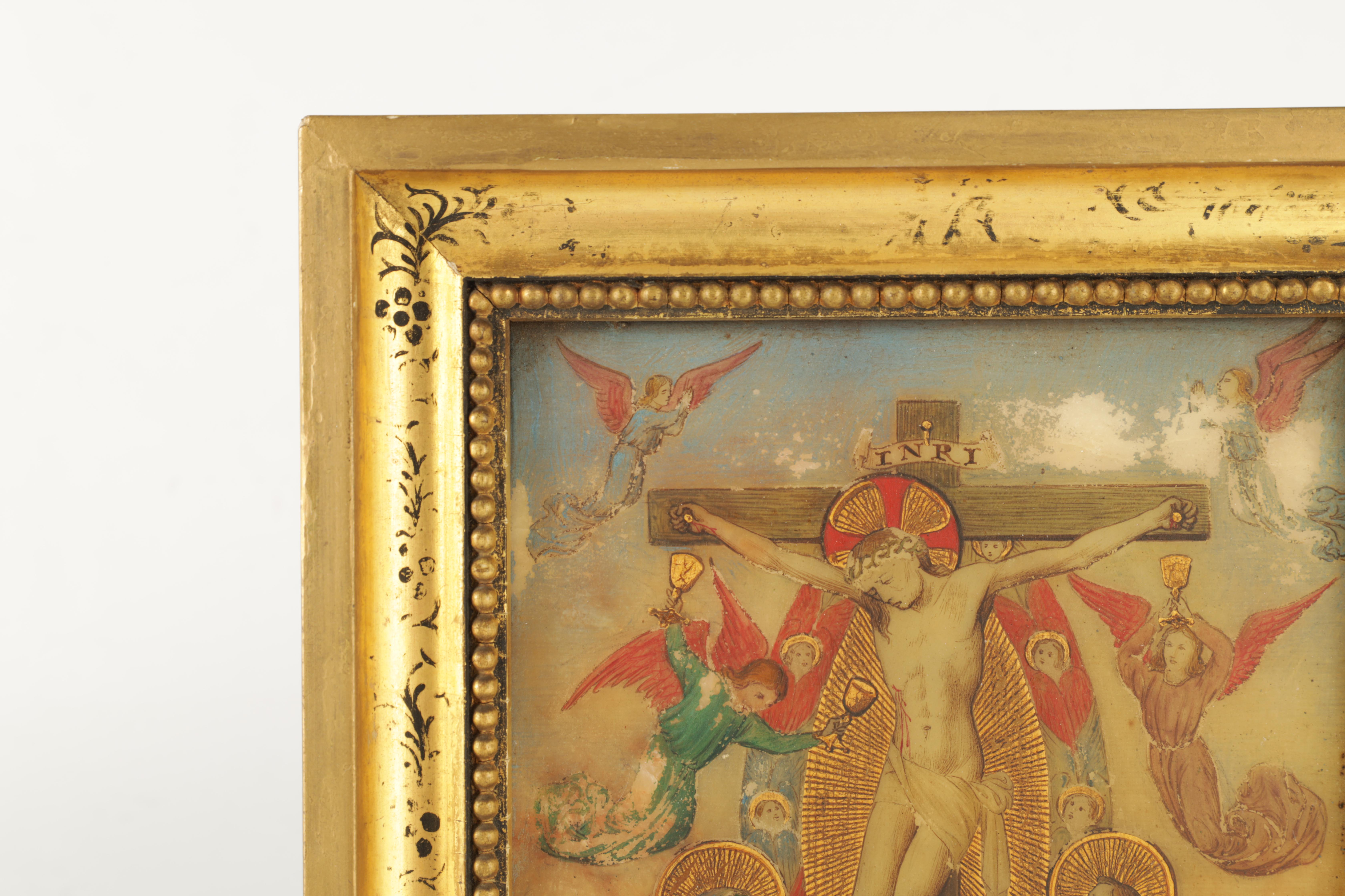 A 19TH CENTURY OIL ON ONYX PANEL.The crucifixion of Christ 22cm high, 14.5cm wide - in gilt - Image 3 of 5