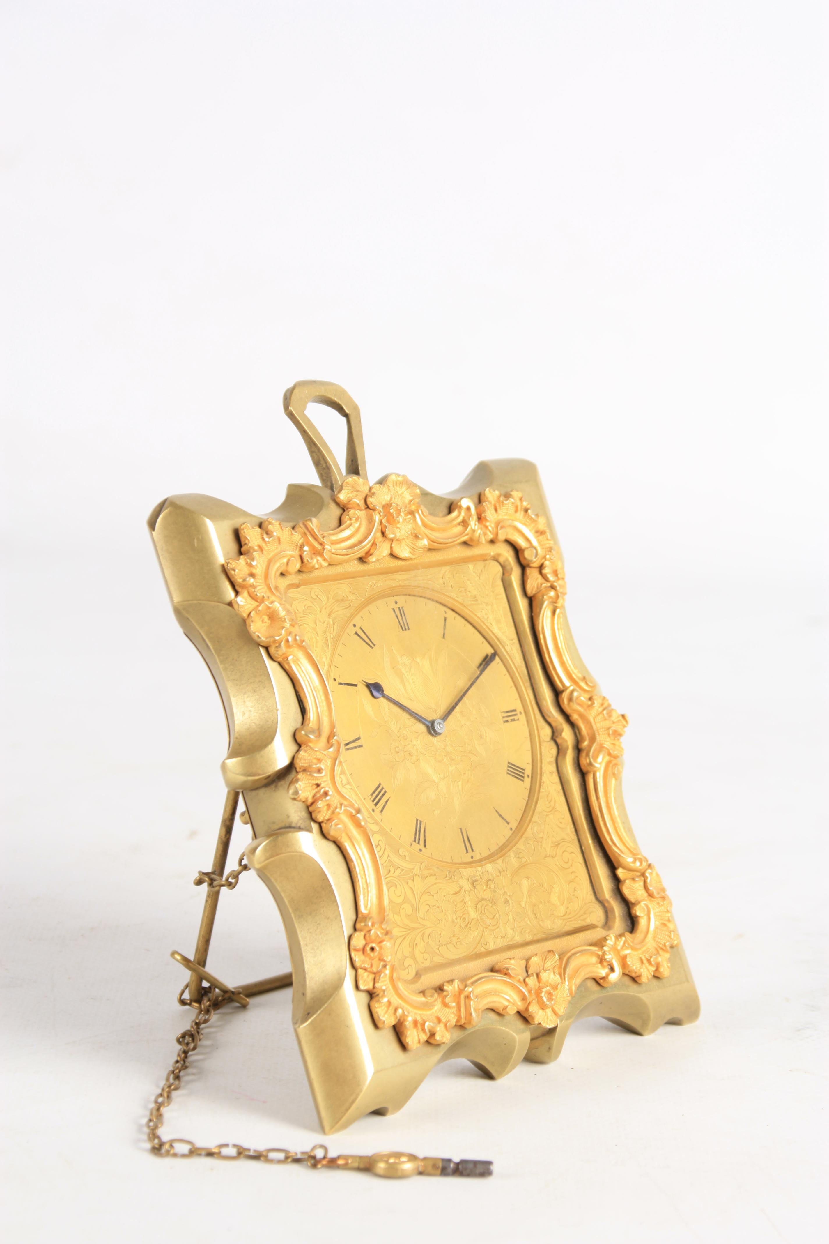 KLEYSER & CO. 66 HIGH STREET, LONDON A MID 19TH CENTURY BRASS STRUT CLOCK IN THE MANNER OF THOMAS - Image 4 of 6
