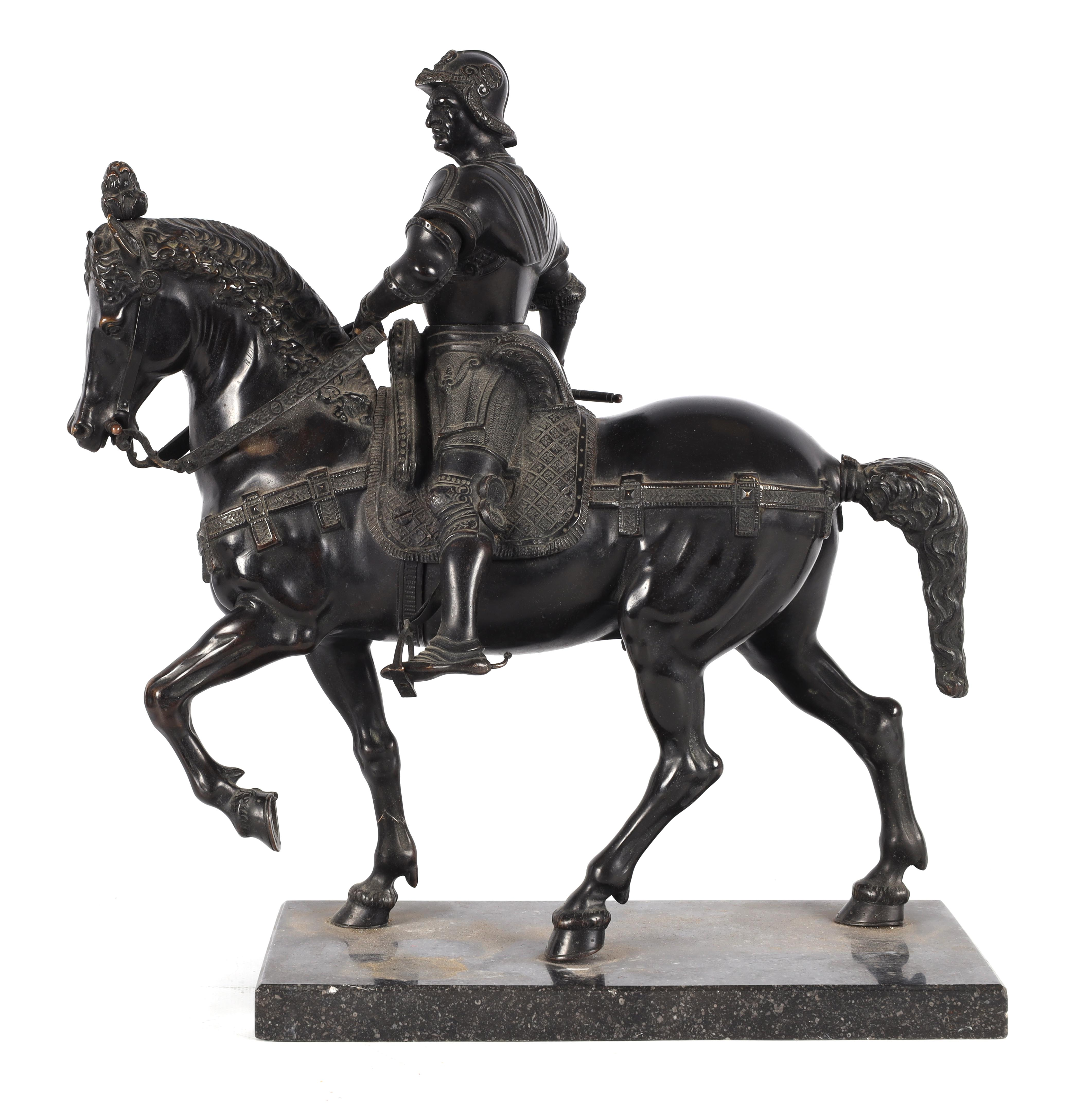 A LATE 19TH CENTURY PATINATED BRONZE EQUESTRIAN SCULPTURE modelled as a Knight on horseback of - Image 3 of 8