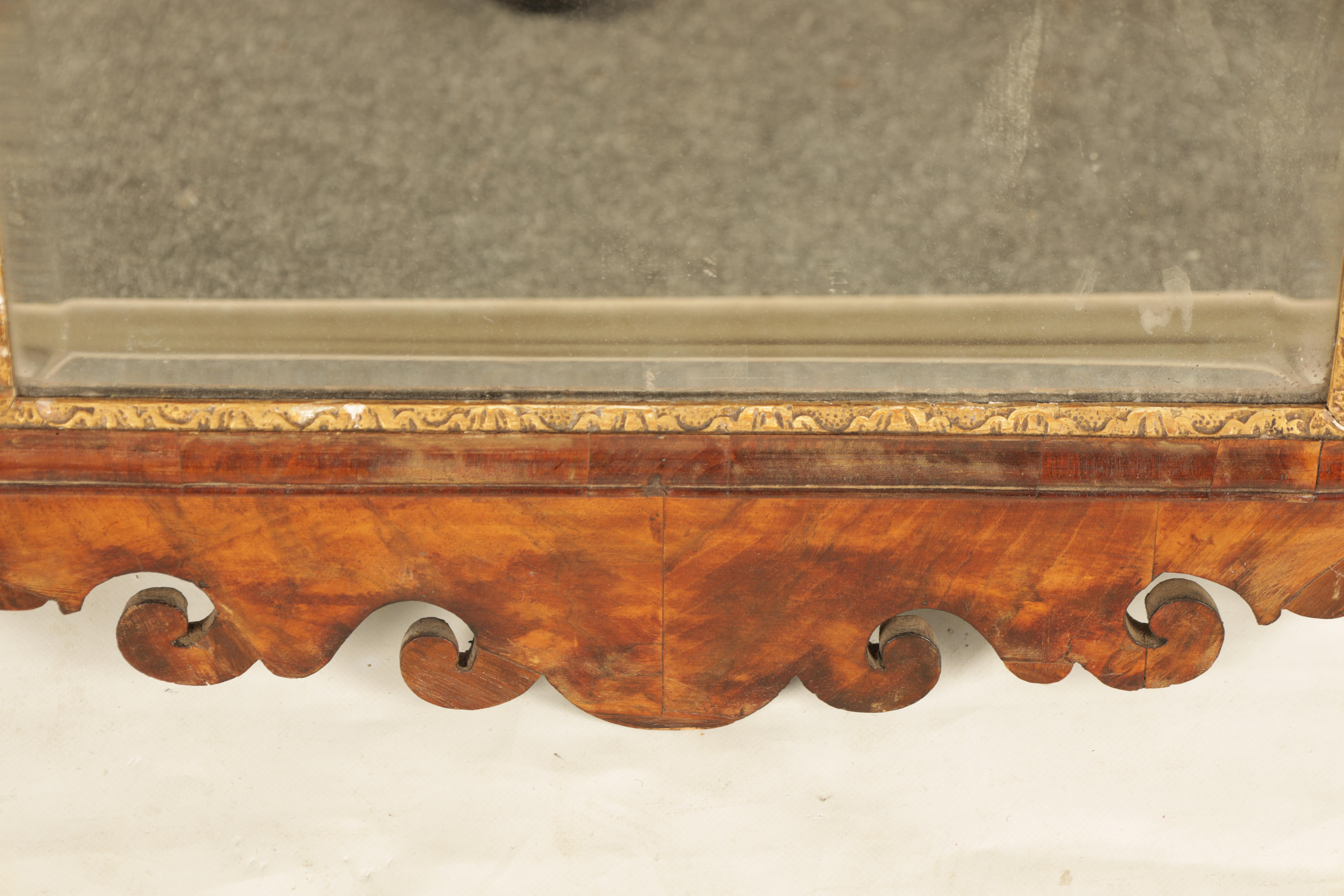 AN 18TH CENTURY WALNUT PIER MIRROR with shaped scrolled frame and gilt carved rococo pediment, the - Image 3 of 5