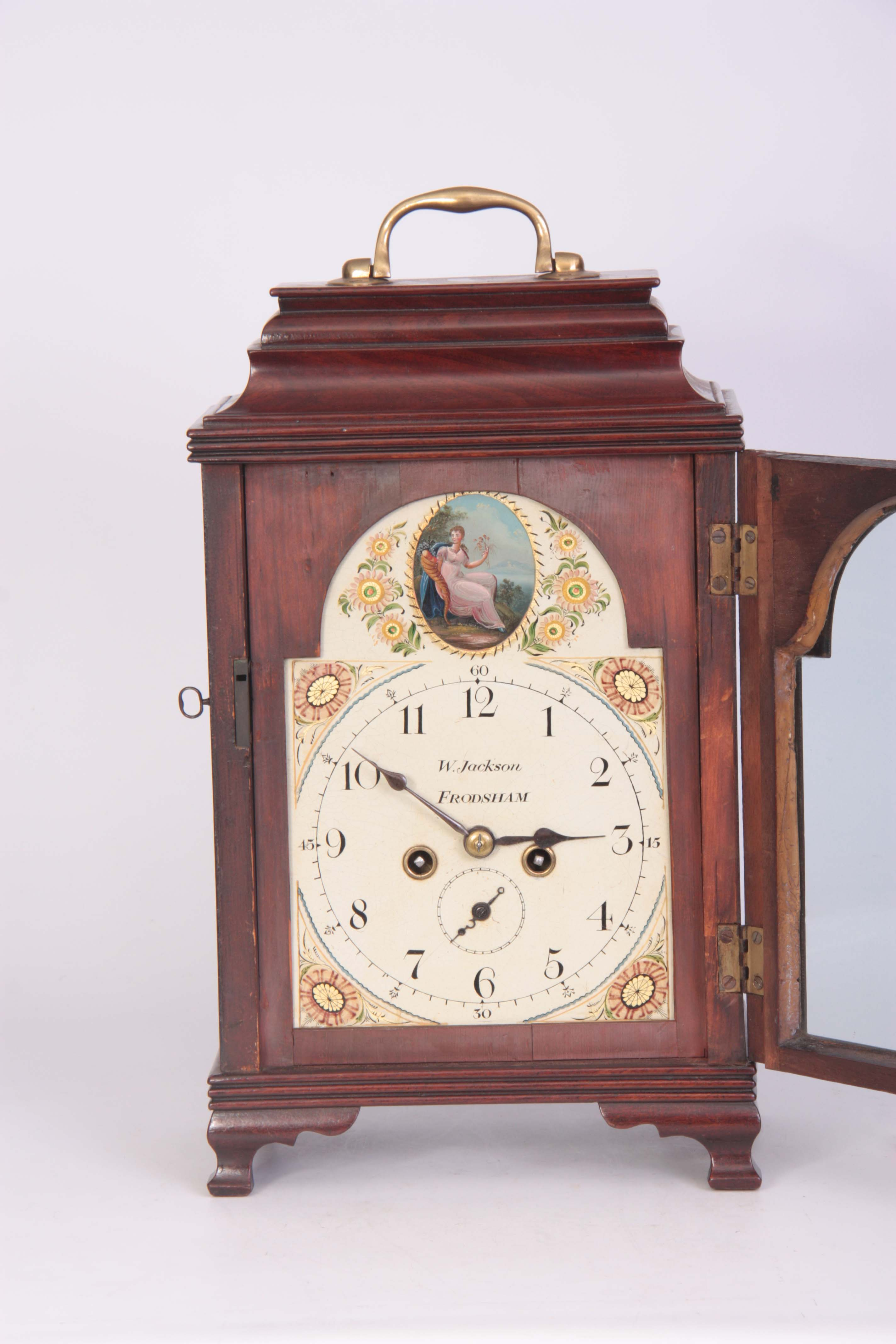 WILLIAM JACKSON, FRODSHAM A GEORGE III PAINTED DIAL MAHOGANY BRACKET CLOCK the case with moulded - Image 3 of 7