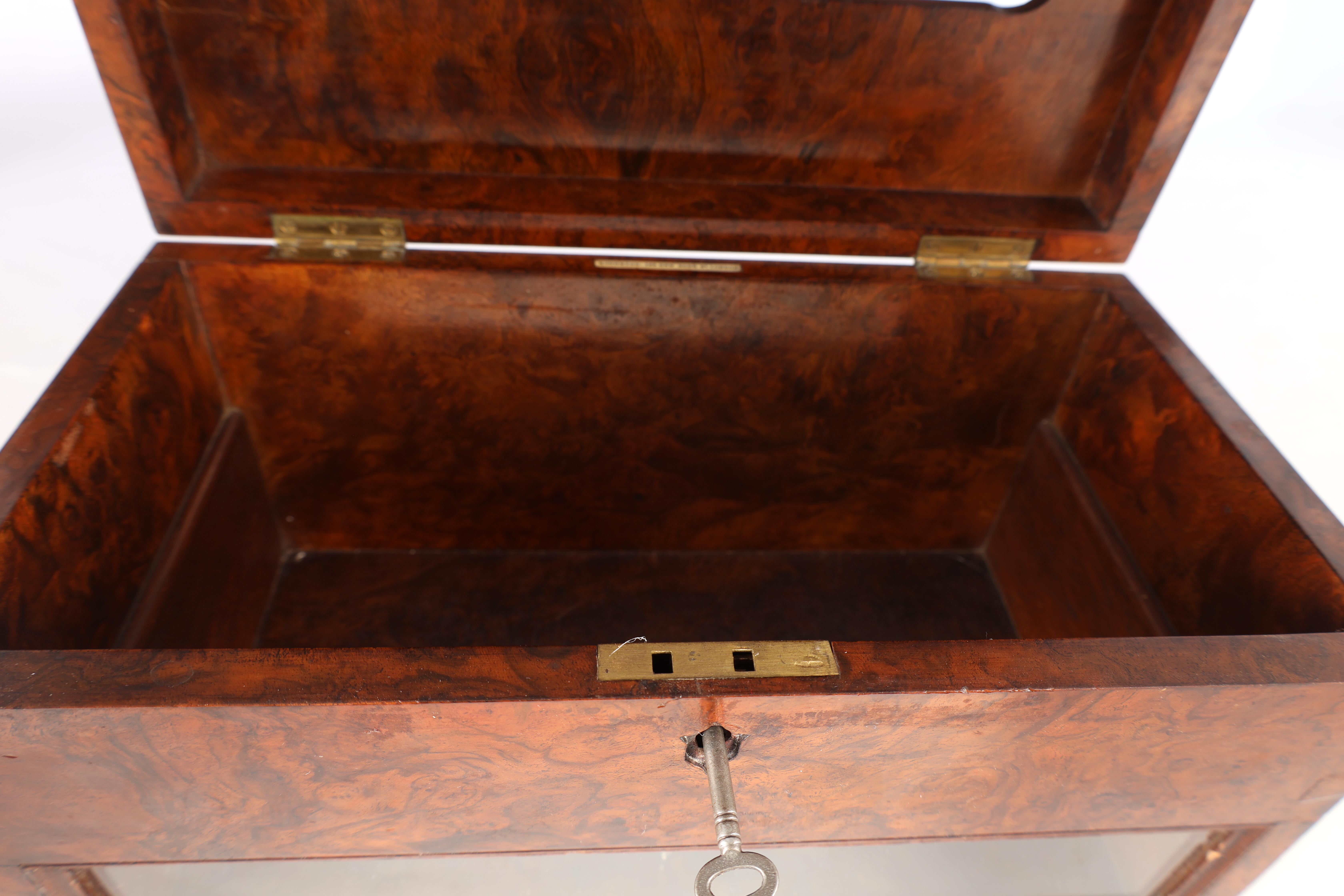 A 19TH CENTURY BURR WALNUT COUNTRY HOUSE LETTERBOX with brass inlaid plaque engraved General Post, - Image 6 of 7