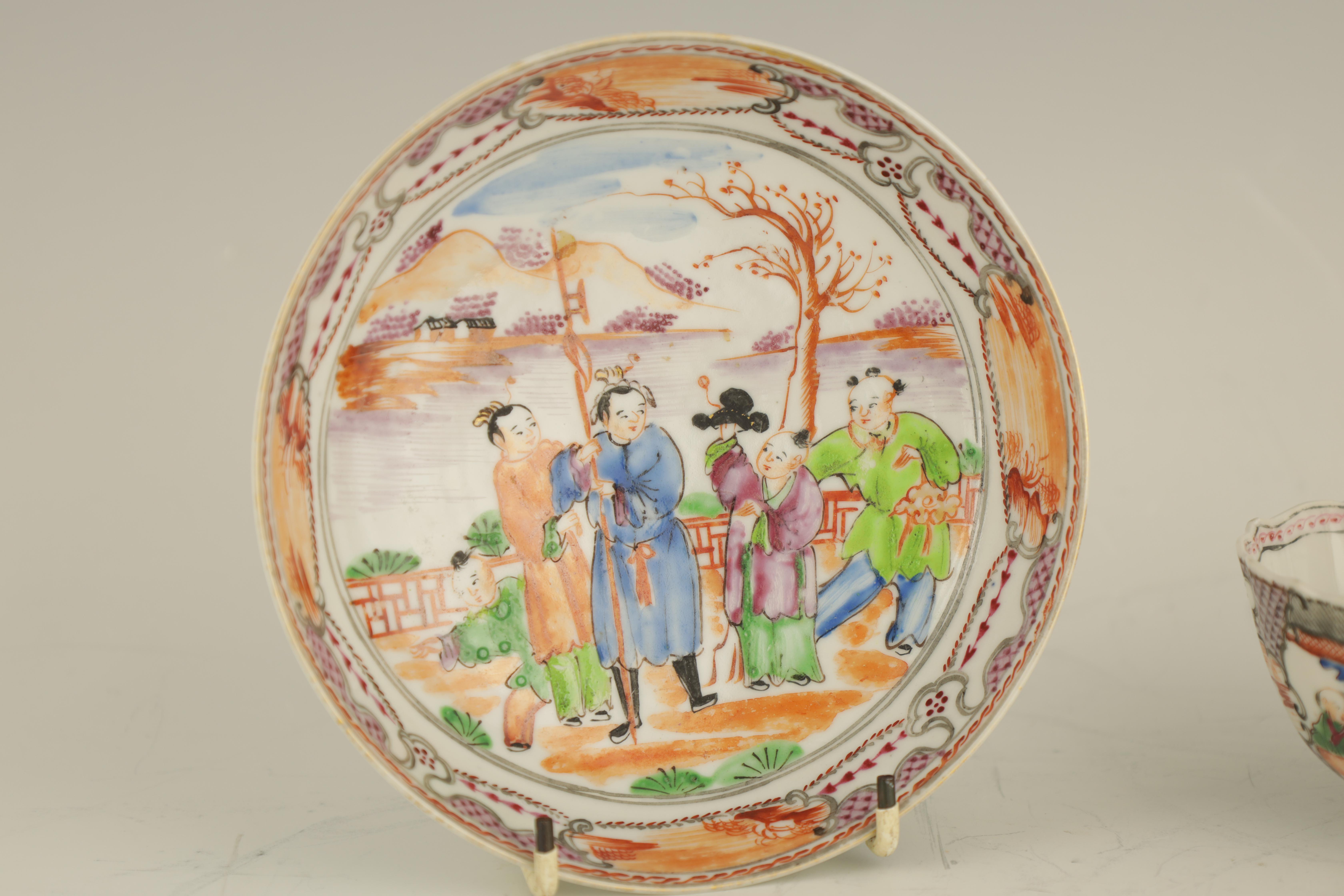 AN EARLY 19TH CENTURY NEW HALL PORCELAIN TEA CUP AND SAUCER decorated in 'The Boy in the Window' - Image 3 of 7