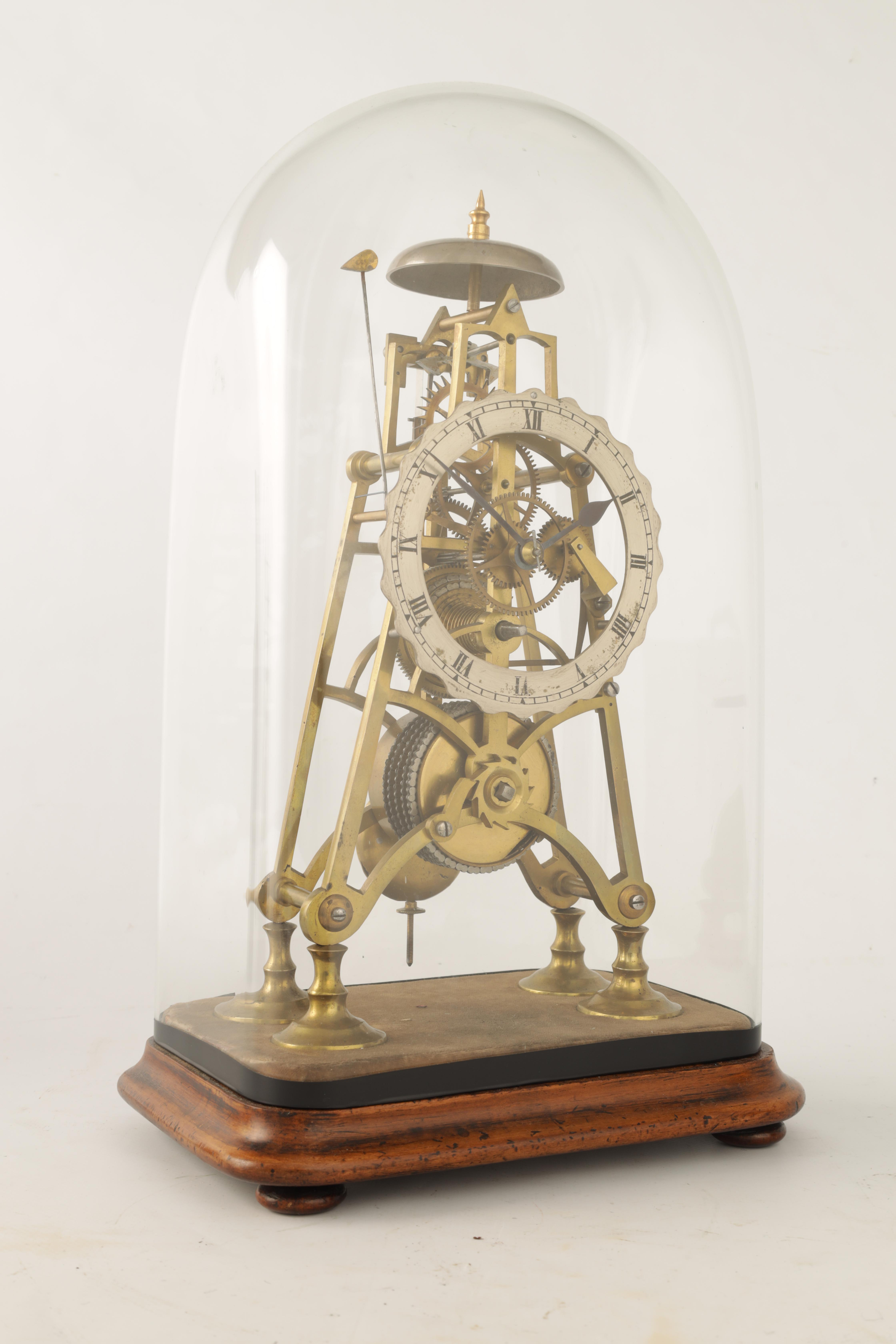 A 19TH CENTURY 8-DAY FUSEE TIMEPIECE SKELETON CLOCK with passing hour bell strike, tapering plates - Image 2 of 6
