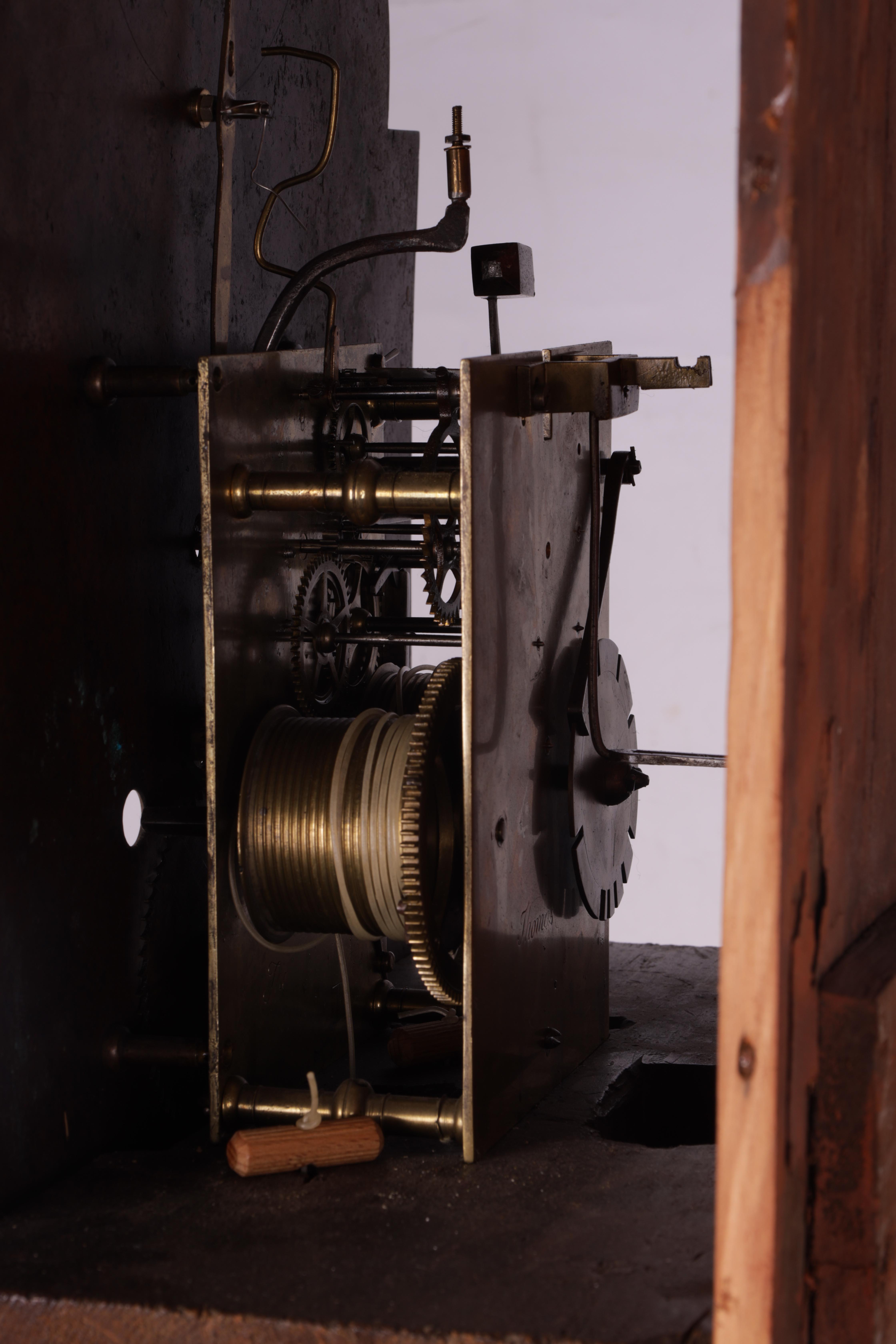 "THOMAS OLIVER MARTOCK A LATE 18TH CENTURY MAHOGANY 8-DAY AUTOMATON LONGCASE CLOCK the 12"" silvered - Image 7 of 8"