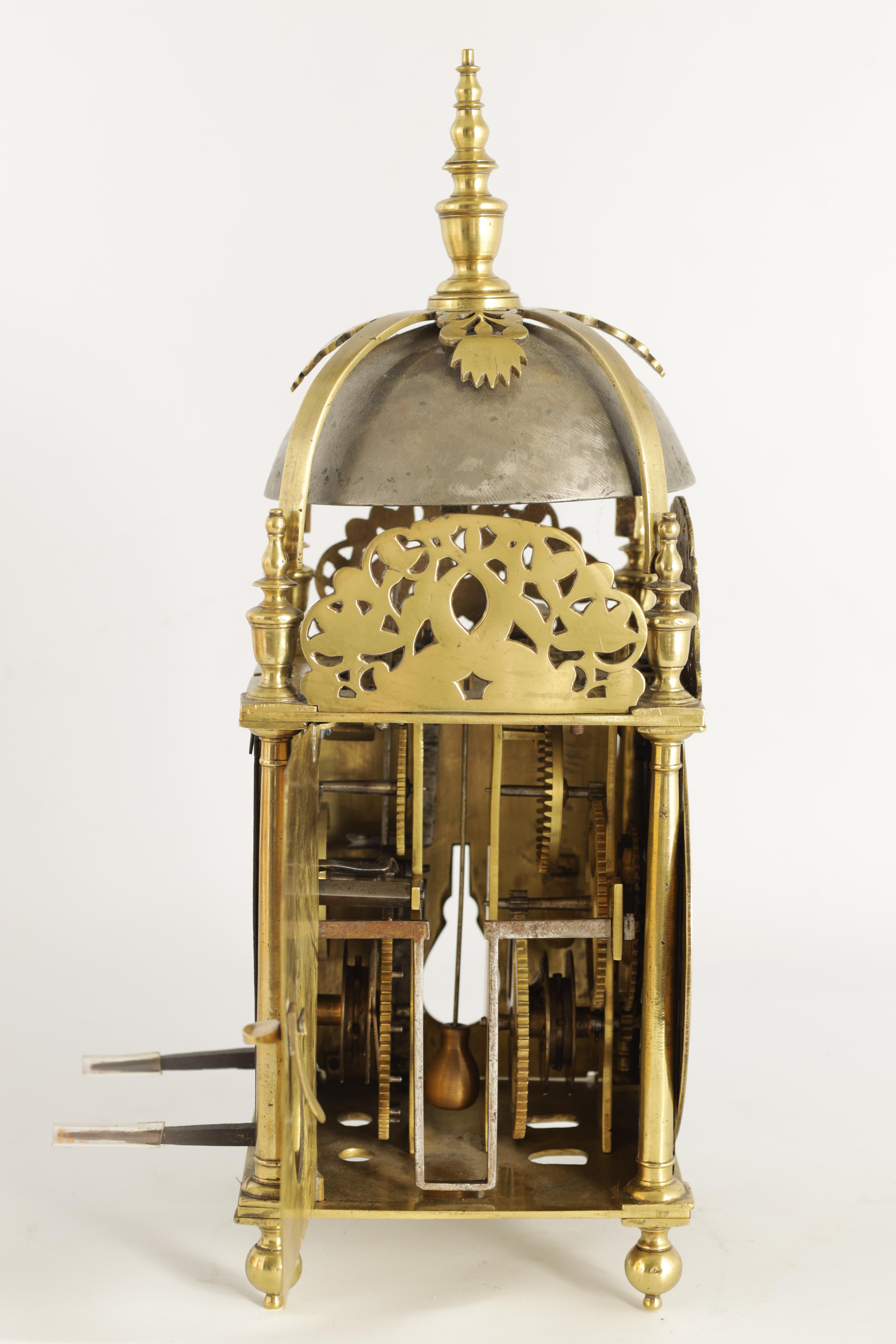 A FINE CHARLES II BRASS LANTERN CLOCKthe posted frame with side doors, engraved fretwork - Image 4 of 9