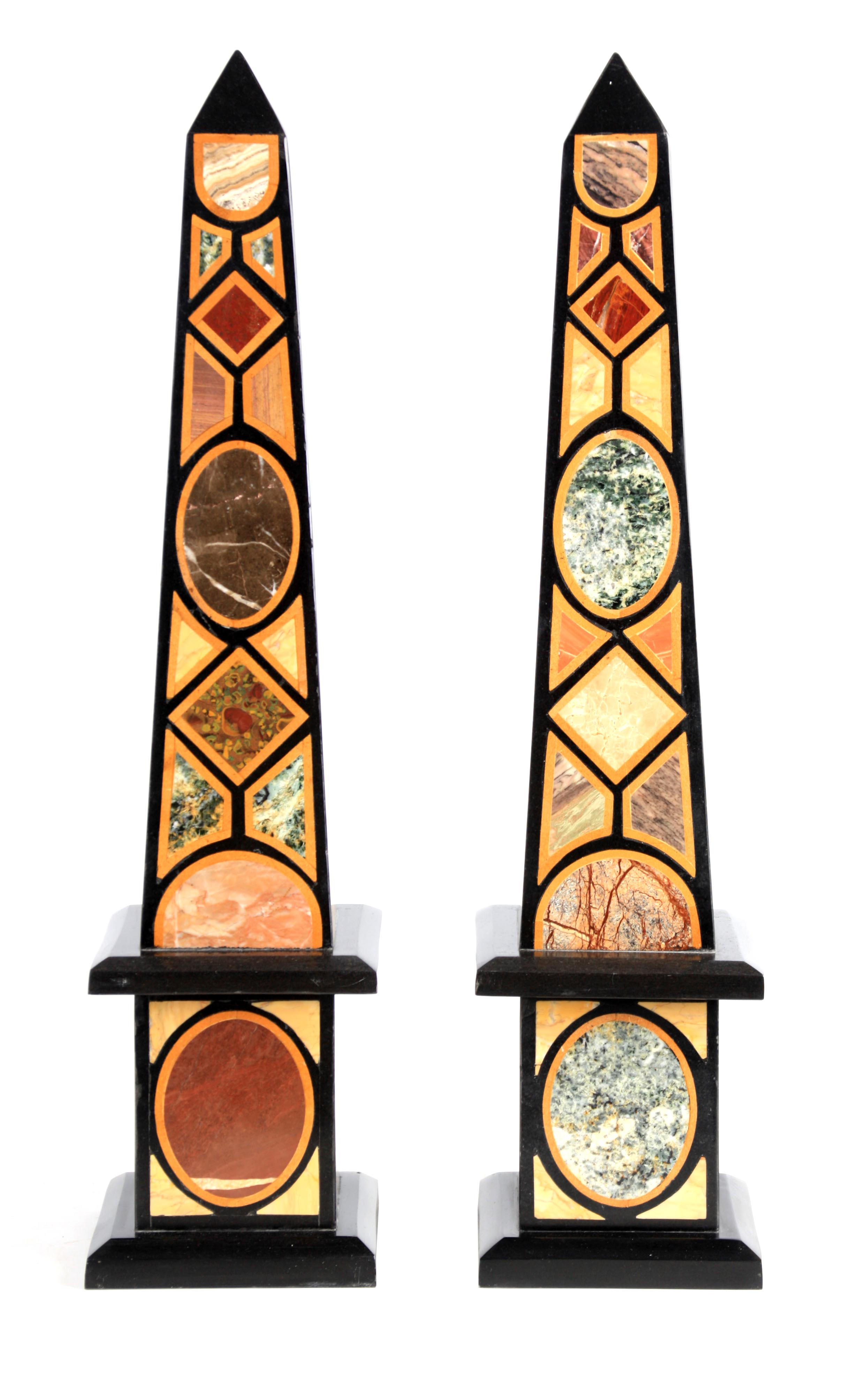 A LARGE AND IMPRESSIVE PAIR OF 20TH CENTURY REGENCY STYLE SPECIMEN MARBLE OBELISKS inlaid with