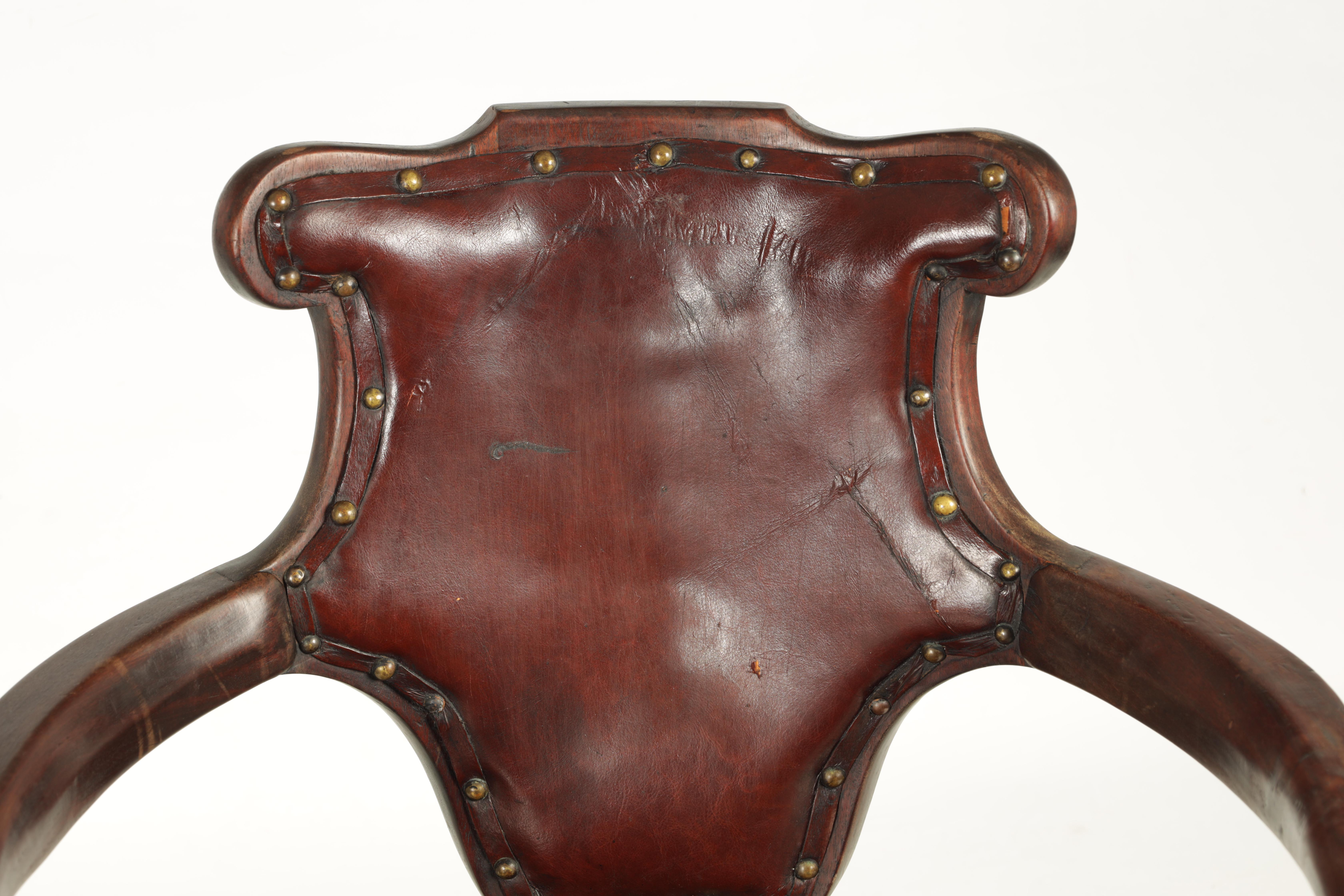 A 19TH CENTURY GEORGE II STYLE METAMORPHIC ARMCHAIR/LIBRARY STEPS with shaped back and crook arms - Image 3 of 8