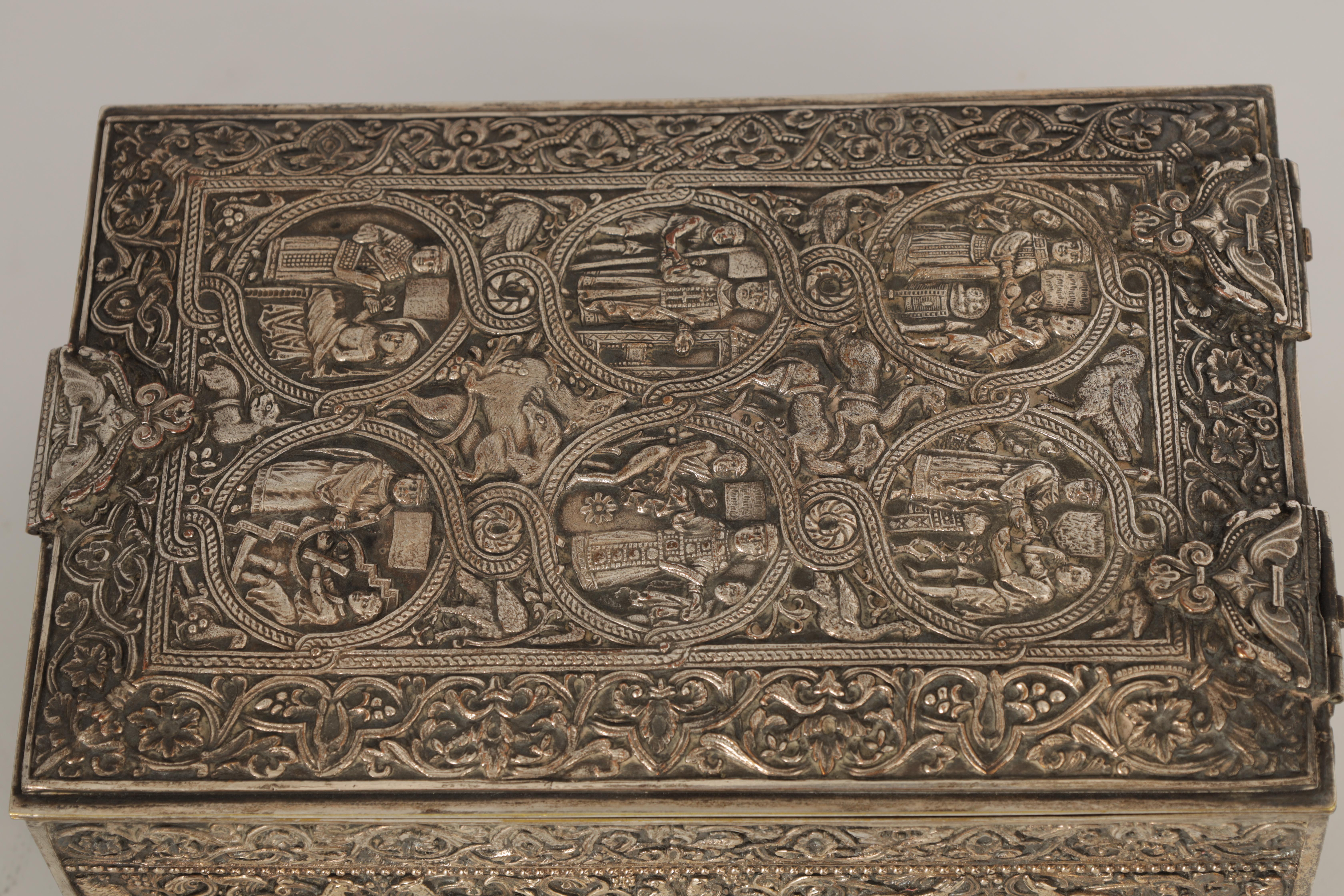 A 19TH CENTURY SILVERED BRONZE JEWELLERY CASKET the lid with intricate relief groups of birds, - Image 9 of 12