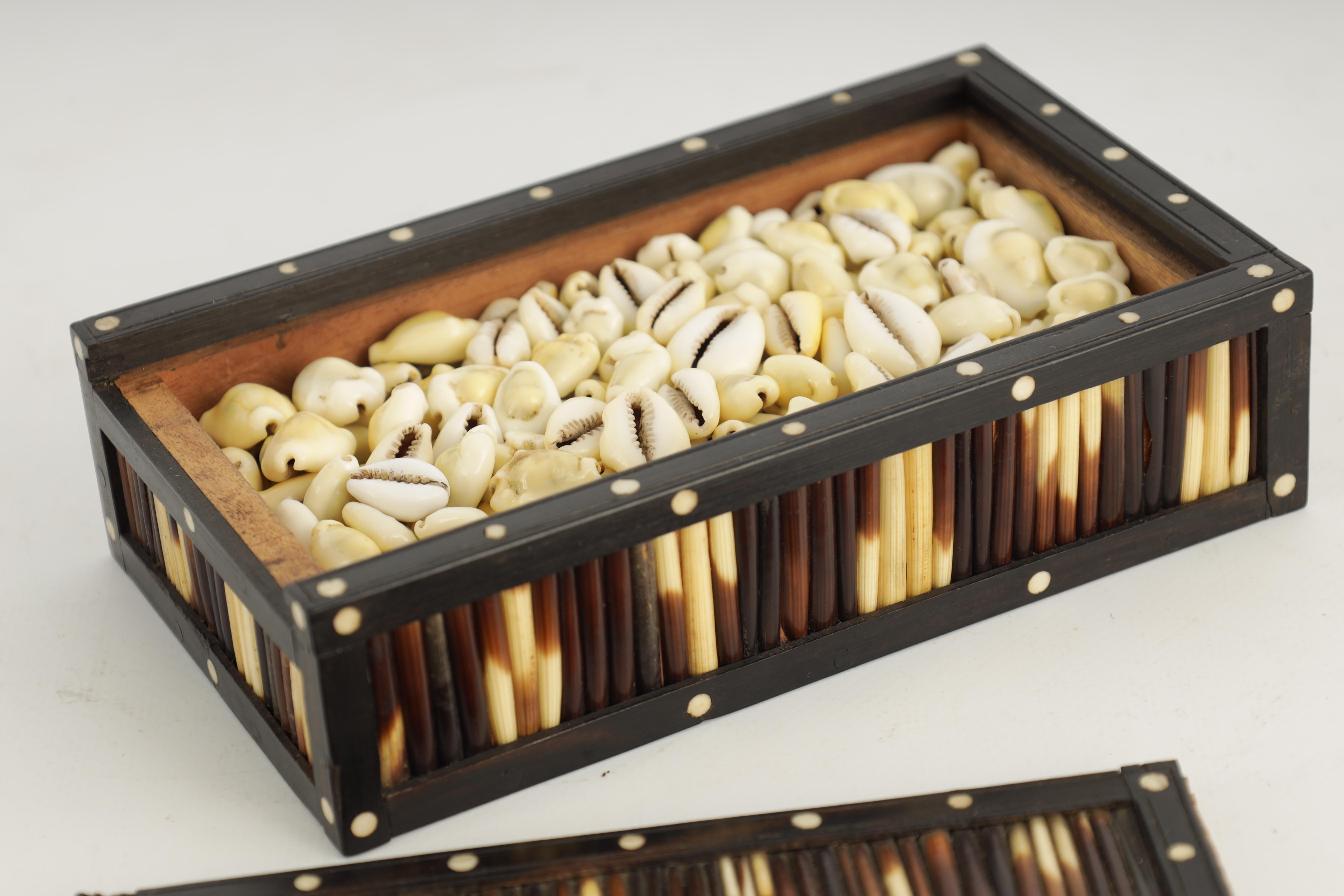 A 19TH CENTURY QUILL BOX with ebony and bone inlaid edges 17cm wide 9.5cm deep 4.5cm high - Image 6 of 7