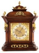 """A LATE 19TH CENTURY GERMAN WALNUT ORMOLU MOUNTED BRACKET CLOCK the 6.5"""" square brass dial with"""