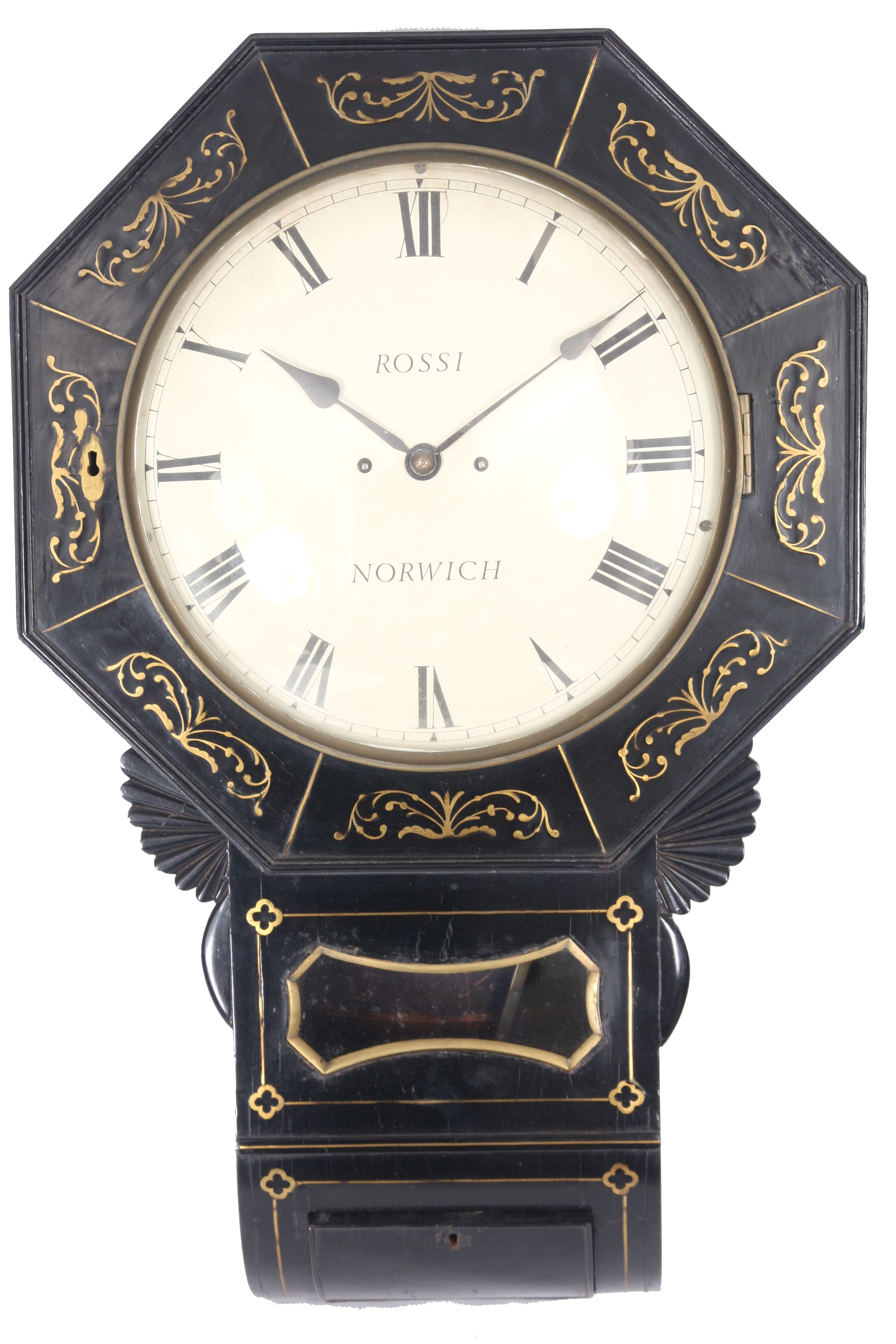 ROSSI, NORWICH A REGENCY EBONISED DOUBLE FUSEE WALL CLOCK with octagonal brass inlaid surround on