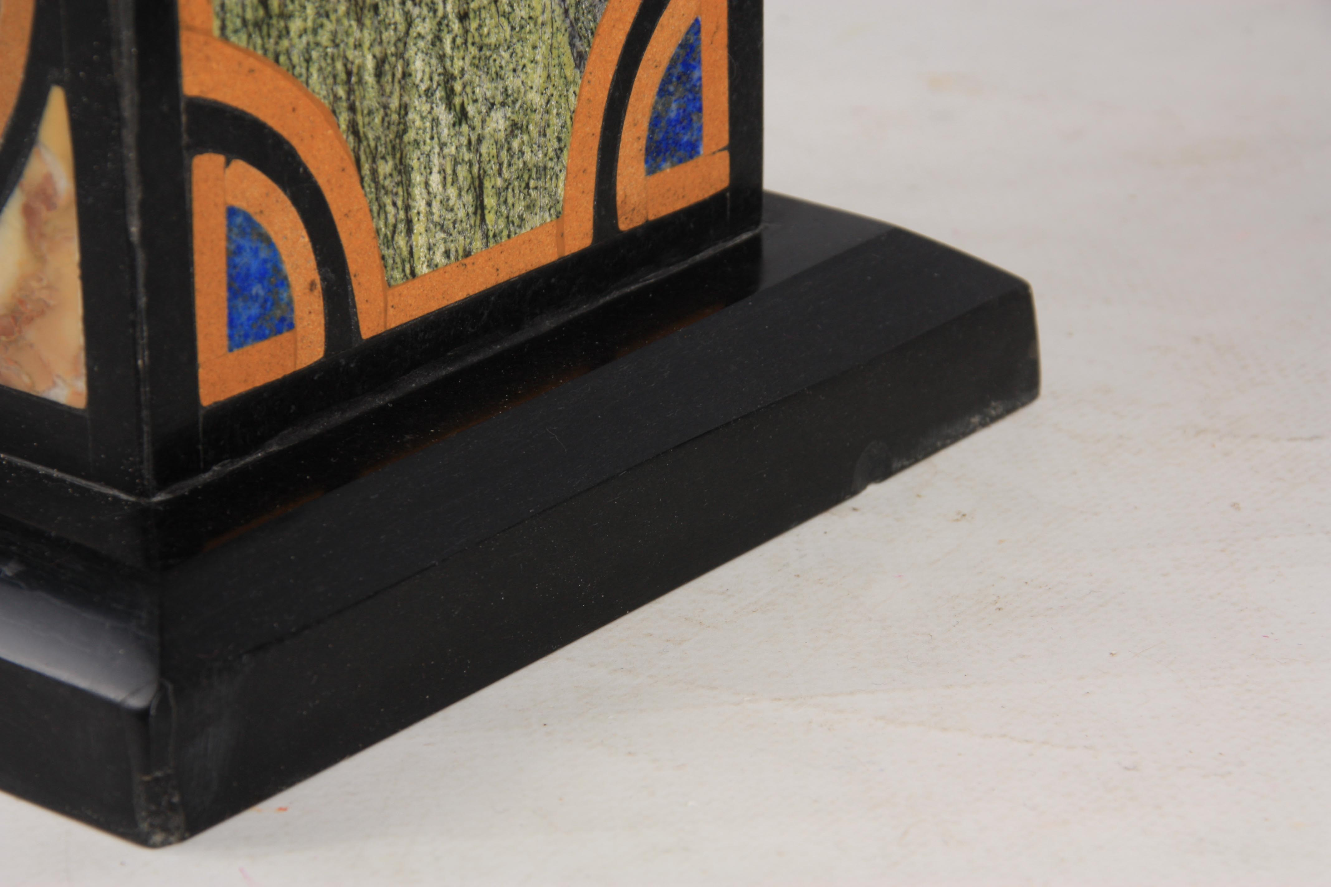 A LARGE AND IMPRESSIVE PAIR OF 20TH CENTURY REGENCY STYLE SPECIMEN MARBLE OBELISKS inlaid with - Image 6 of 7