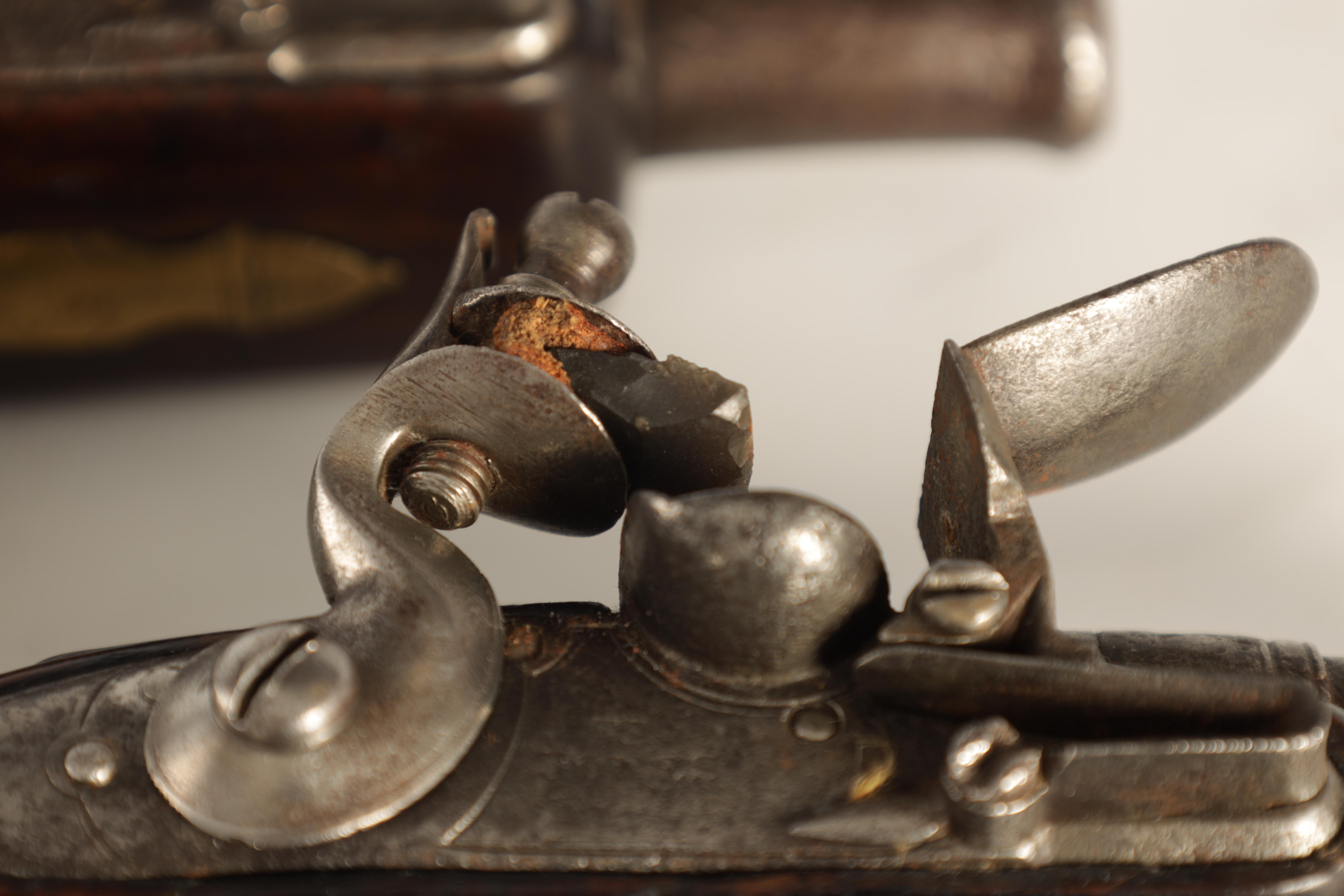 T. JONES. A PAIR OF EARLY 18TH CENTURY FLINTLOCK POCKET PISTOLS with turn-off cannon barrel, - Image 14 of 14