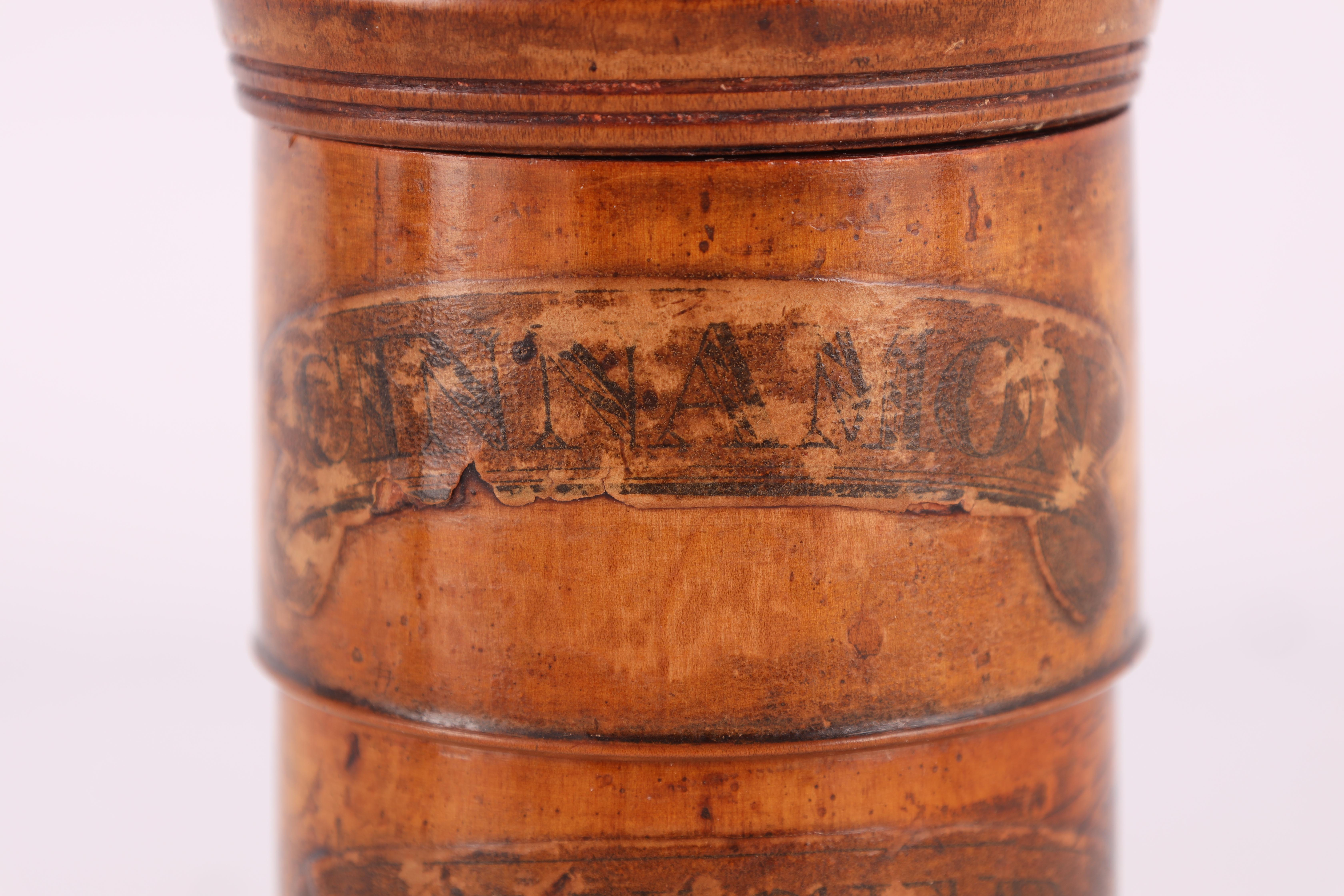 TWO EARLY 19TH CENTURY SYCAMORE TREEN SPICE TOWERS with original labels, the three stack 15cm - Image 10 of 13