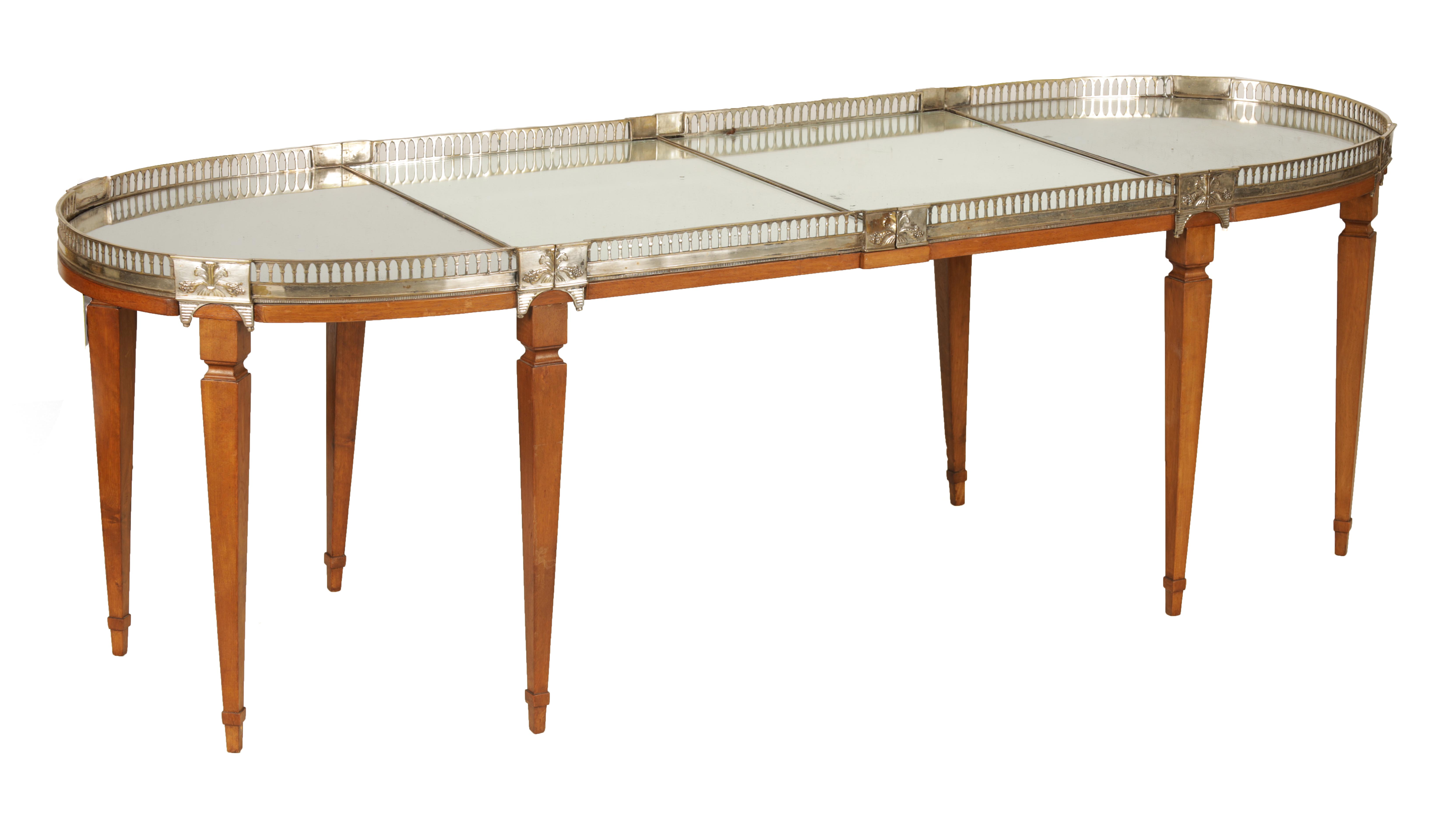 A 19TH CENTURY SILVERED BRONZE TABLE CENTREPIECE FOUR SECTIONAL TRAY with pierced gallery and
