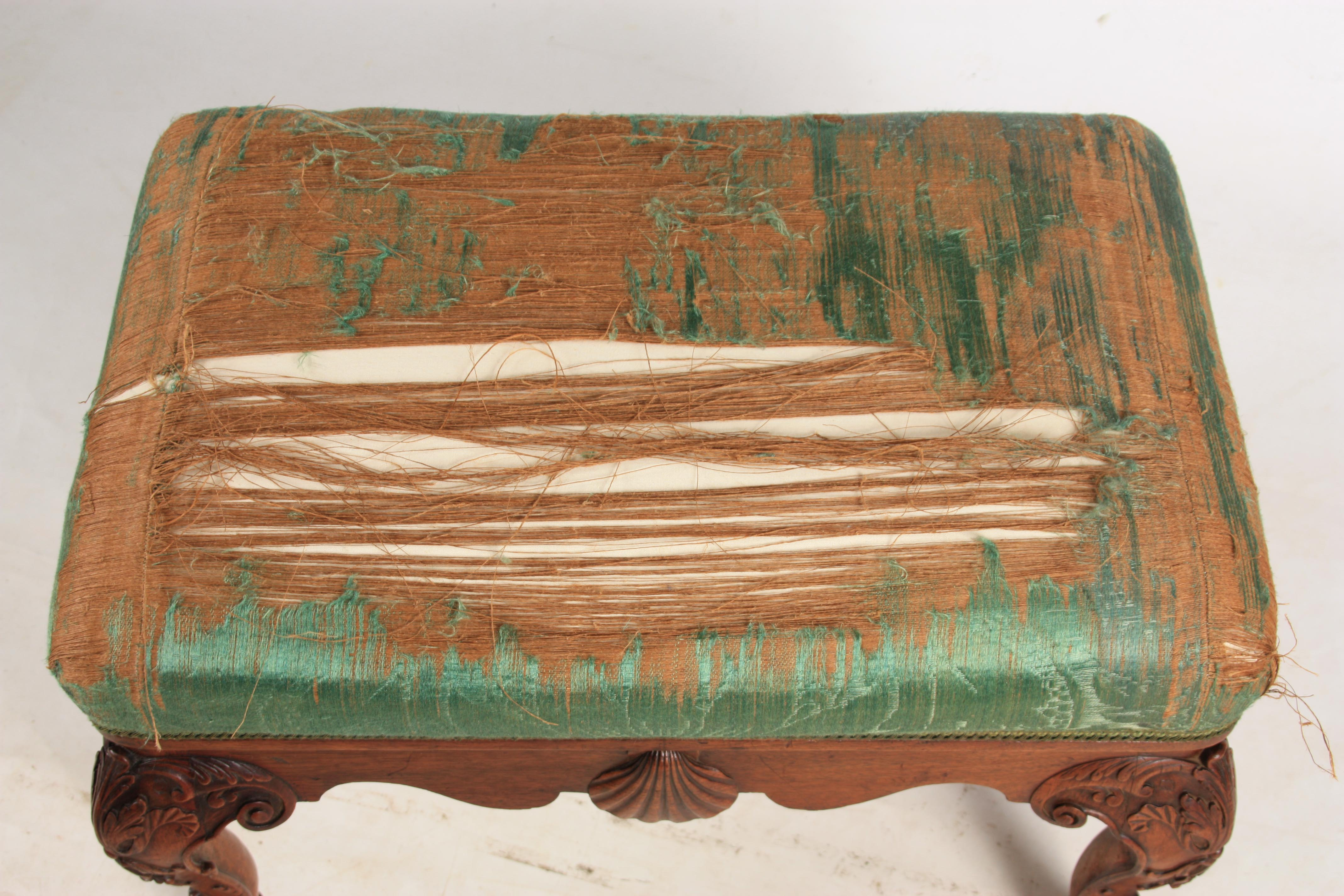 A MID 18TH CENTURY IRISH STYLE MAHOGANY DRESSING TABLE STOOL with upholstered top above shaped rails - Image 7 of 7