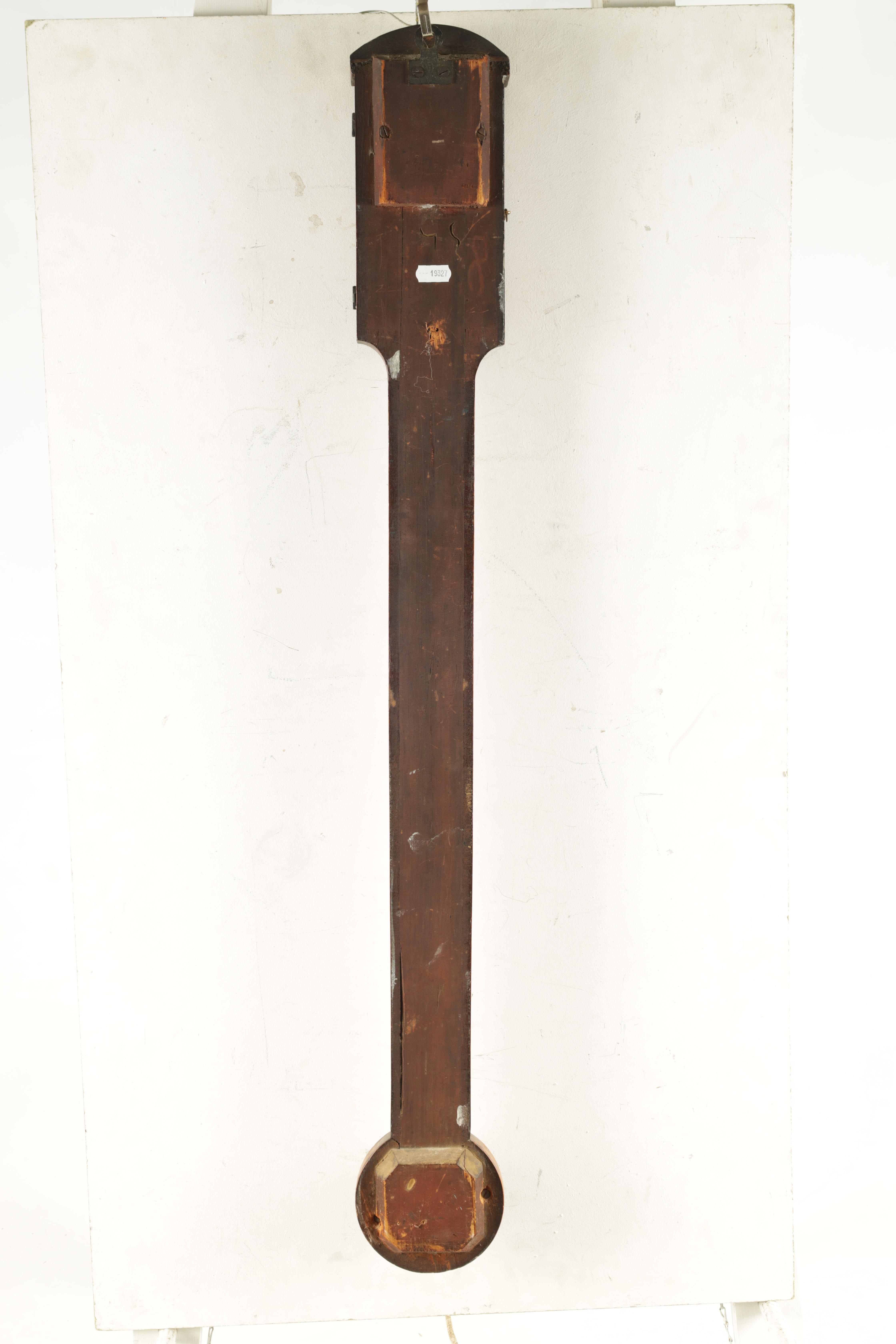 F. BOVERIL, 9 EYRE STREET, HILL, LONDON A GEORGE III MAHOGANY STICK BAROMETER the case with arched - Image 6 of 6