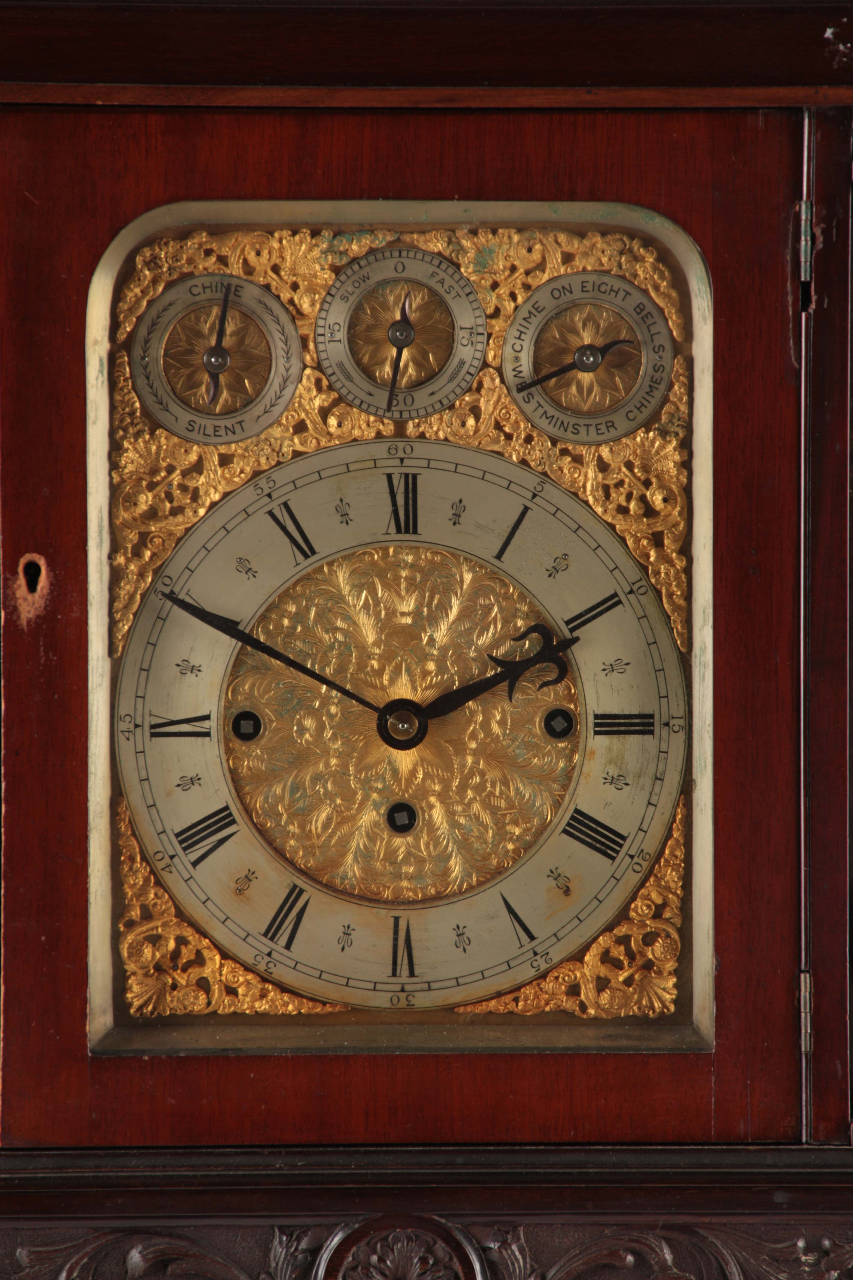 A LATE 19TH CENTURY QUARTER CHIMING TRIPLE FUSEE BRACKET CLOCK the large mahogany case with arched - Image 3 of 7
