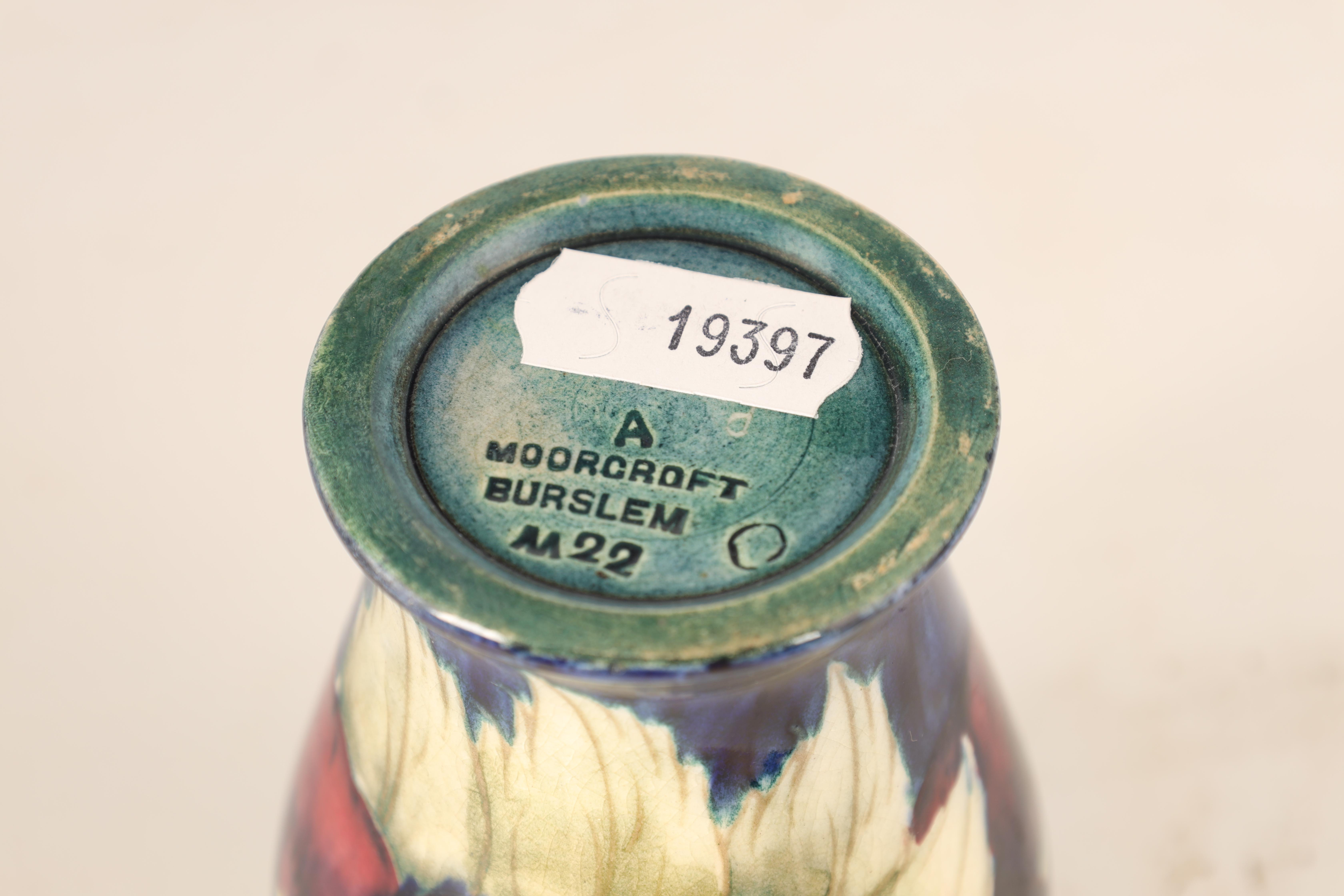 A MOORCROFT BURSLEM MINIATURE INVERTED BALUSTER VASE decorated with a band of Pansy flowerheads - Image 4 of 4