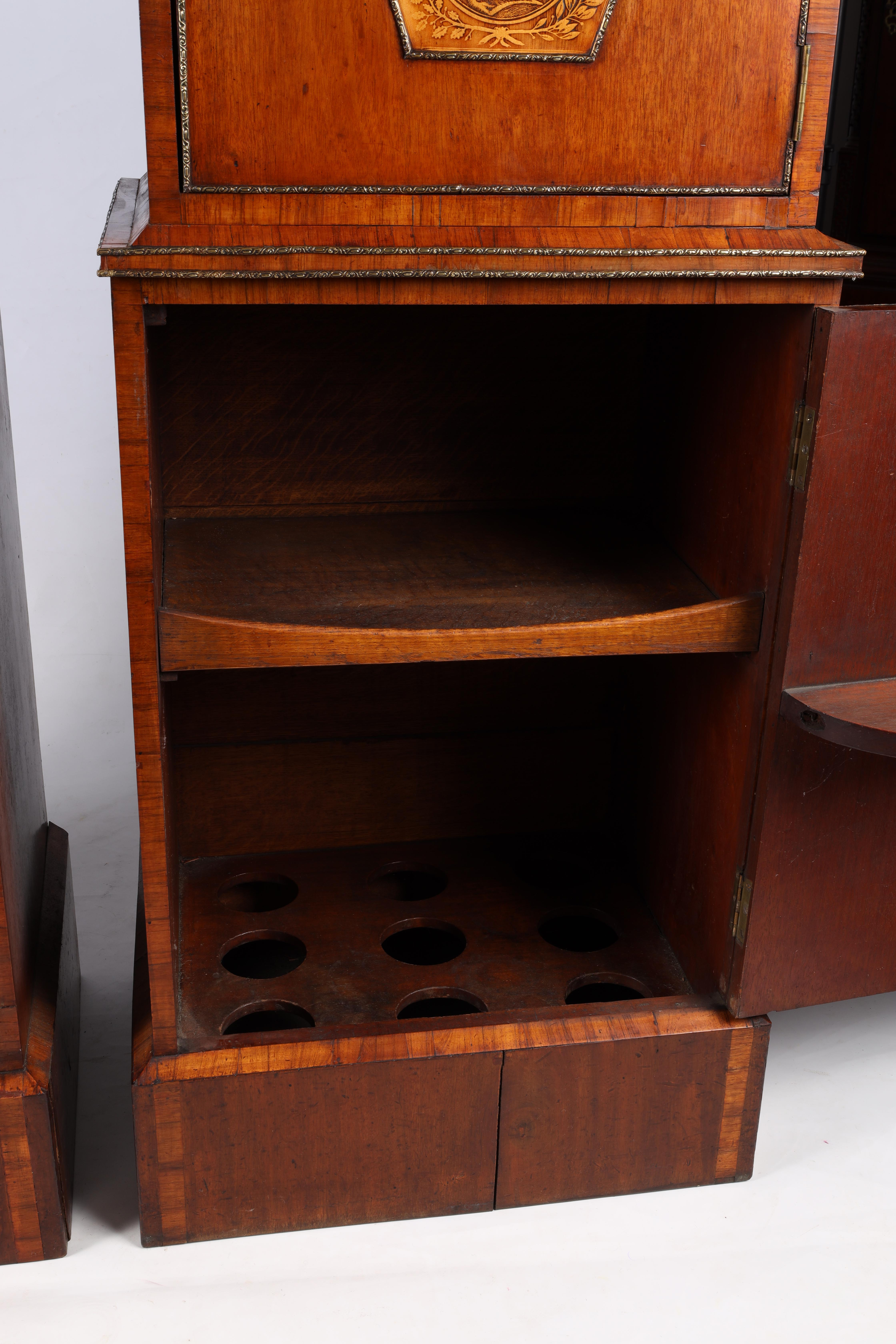 A LARGE PAIR OF GEORGE III KINGWOOD BANDED MAHOGANY PEDESTALS with unusual pen work panels depicting - Image 6 of 11