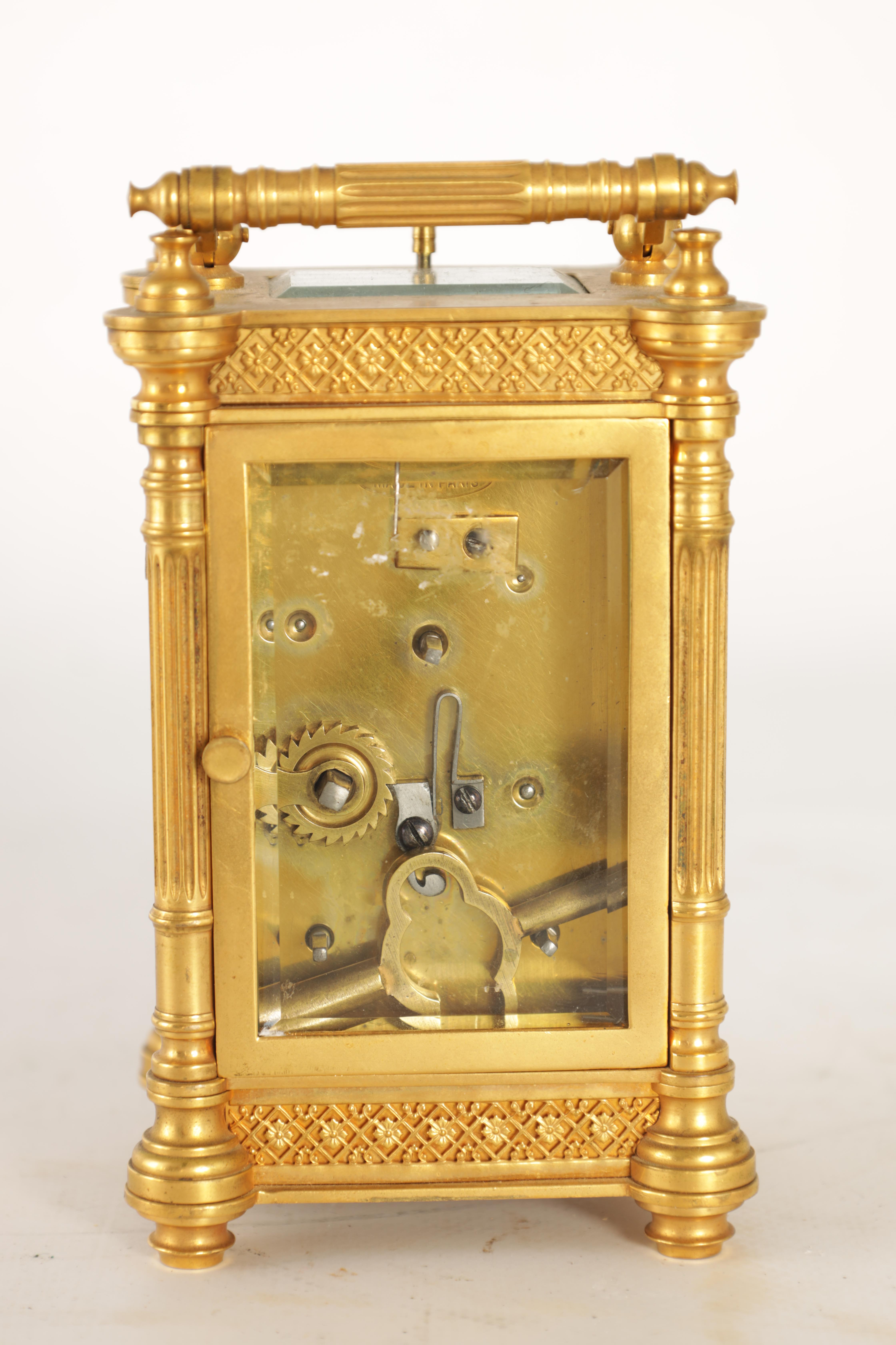 A LATE 19TH CENTURY FRENCH BRASS CARRIAGE CLOCK WITH CALENDAR the gilt case with pierced frieze - Image 4 of 6