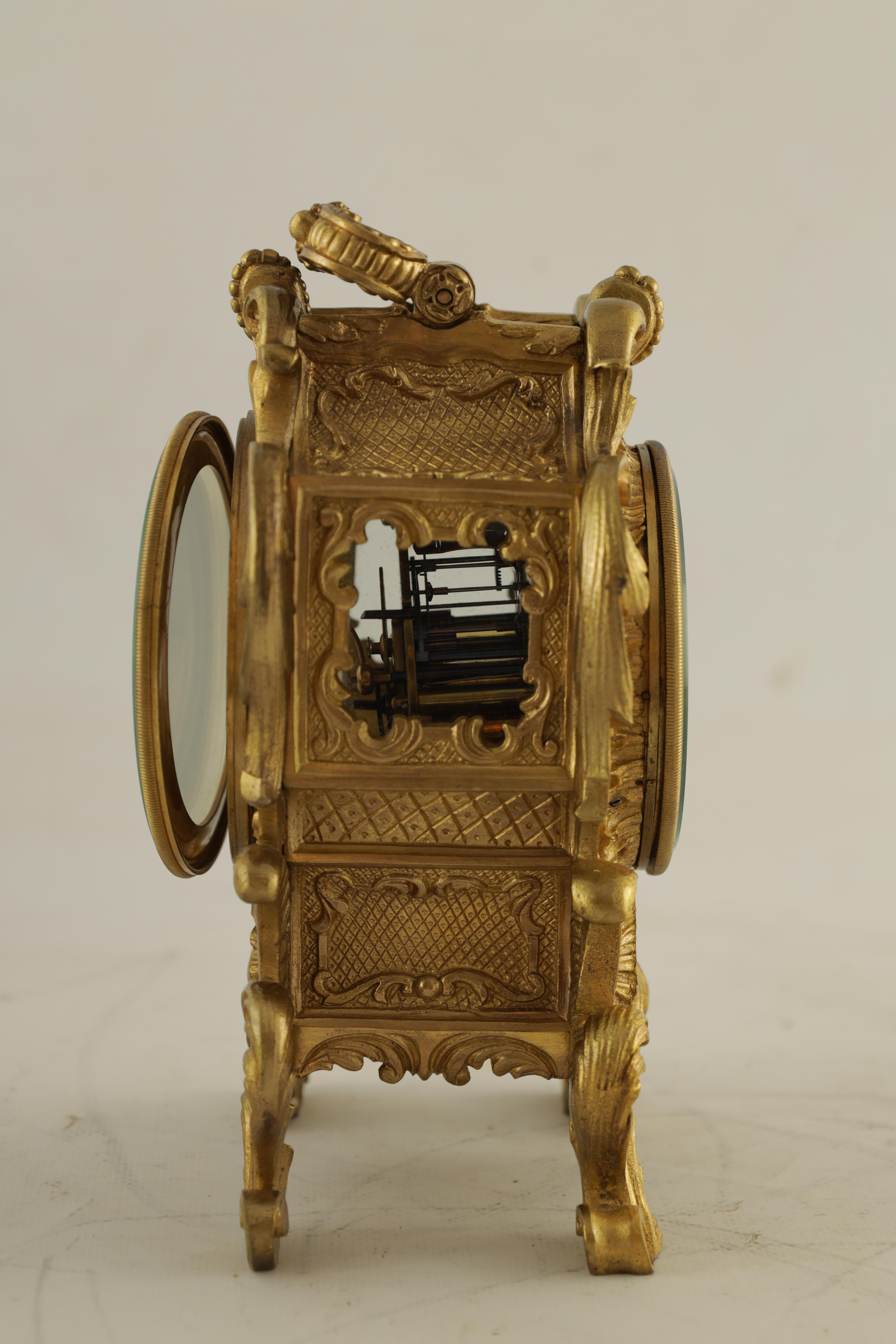 PAUL GARNIER, PARIS A MID 19TH CENTURY FRENCH TRAVELLING MANTEL CLOCK the gilt bronze rococo style - Image 9 of 13