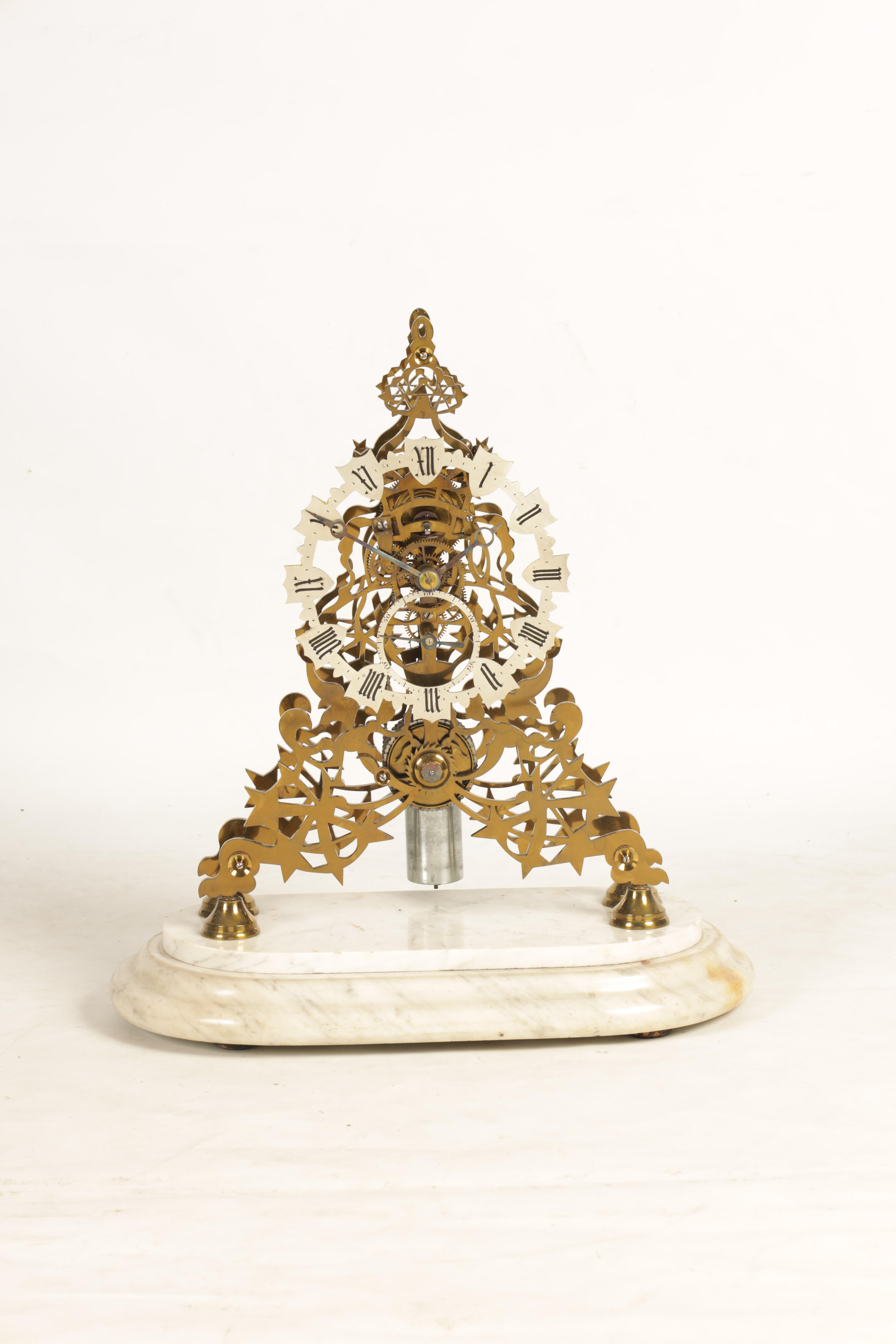 ATTRIBUTED TO EVANS OF HANDSWORTH A FINE LATE 19TH CENTURY BRASS FRAMED SKELETON TABLE REGULATOR - Image 2 of 12