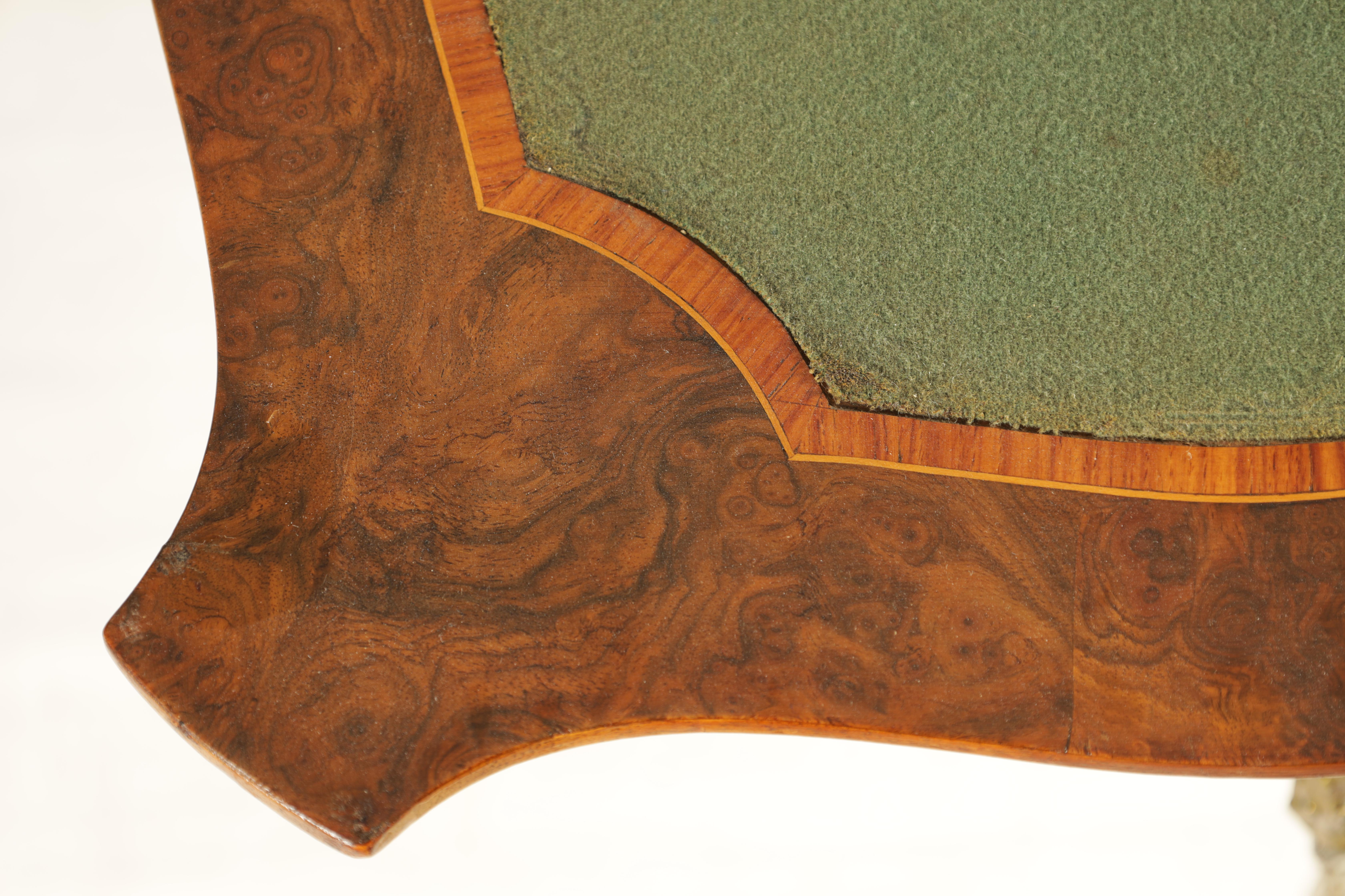 A 19TH CENTURY FRENCH KINGWOOD CROSS-BANDED BURR WALNUT SERPENTINE CARD TABLE with ormolu mounts and - Image 10 of 13