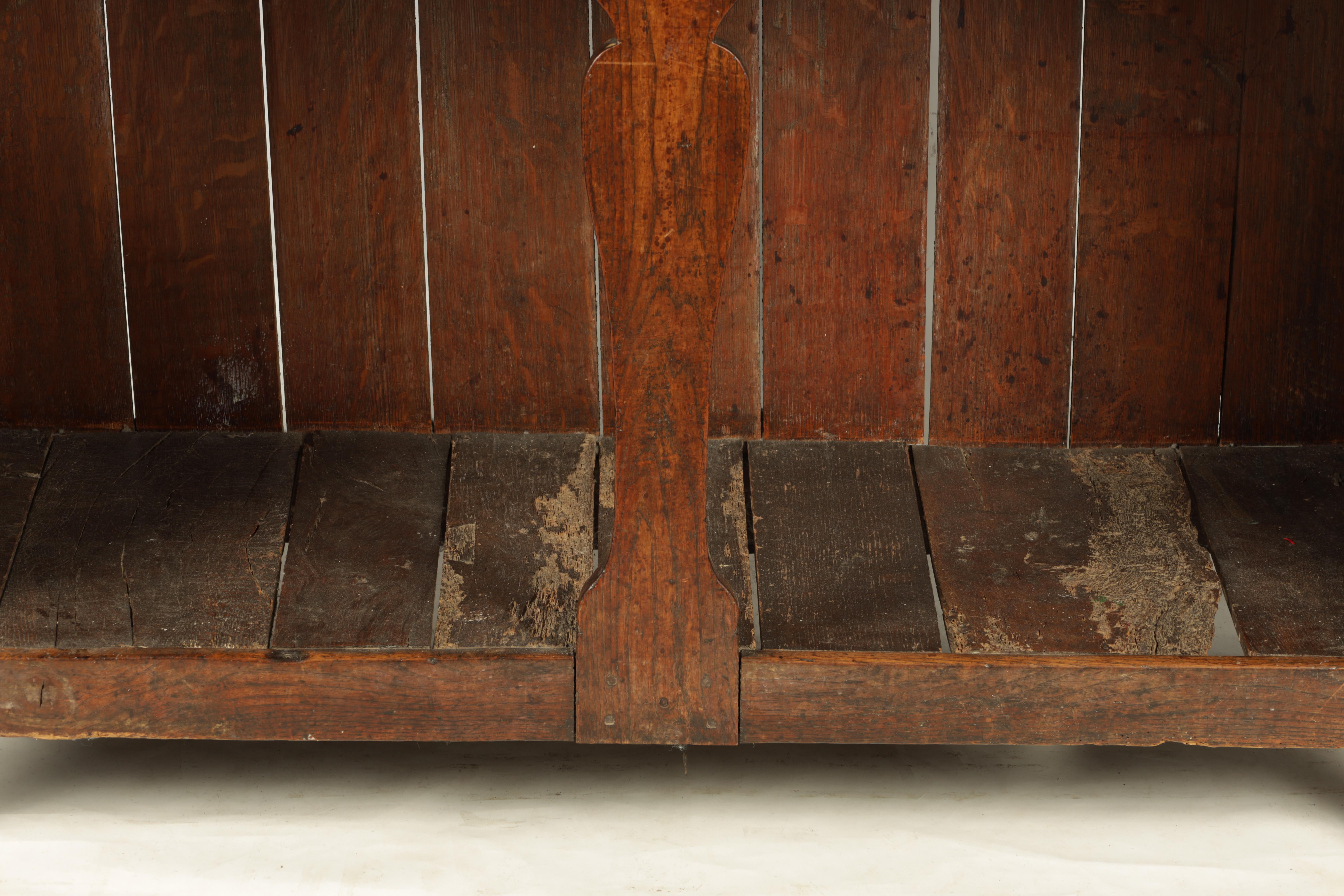 AN EARLY 18TH CENTURY SILHOUETTE LEG OAK DRESSER AND RACK with shaped moulded rack fitted two - Image 3 of 10