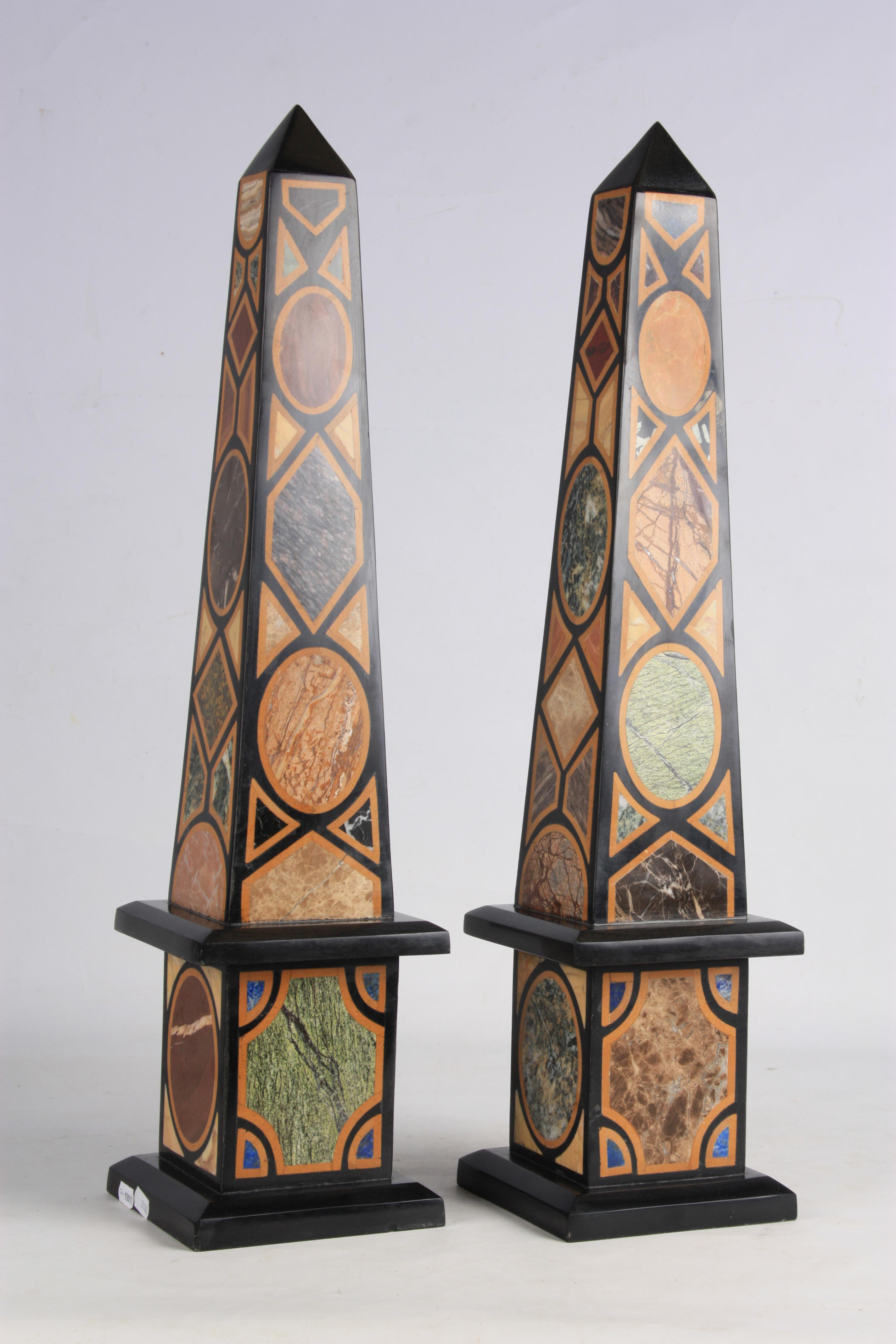 A LARGE AND IMPRESSIVE PAIR OF 20TH CENTURY REGENCY STYLE SPECIMEN MARBLE OBELISKS inlaid with - Image 3 of 7