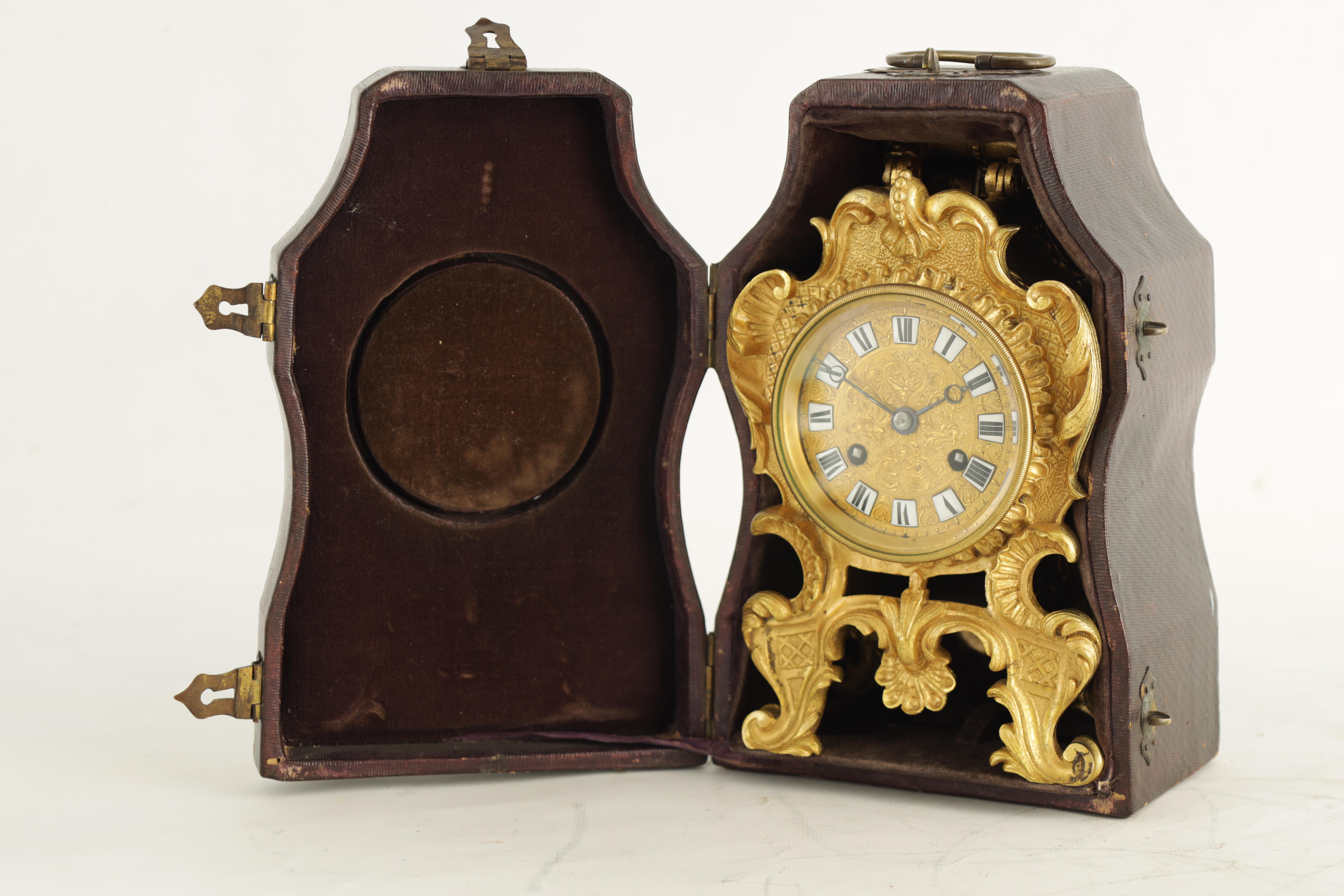 PAUL GARNIER, PARIS A MID 19TH CENTURY FRENCH TRAVELLING MANTEL CLOCK the gilt bronze rococo style - Image 4 of 13