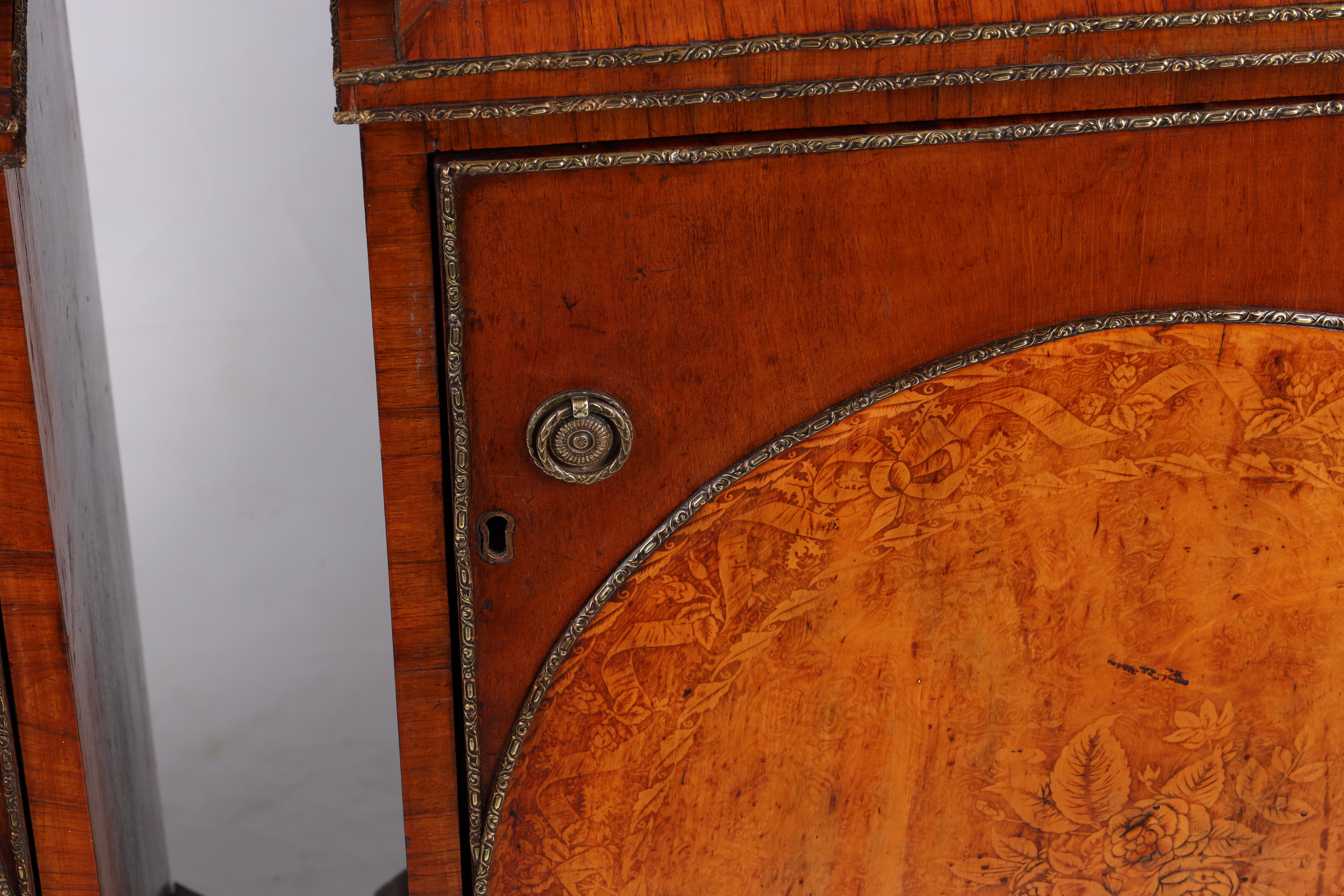 A LARGE PAIR OF GEORGE III KINGWOOD BANDED MAHOGANY PEDESTALS with unusual pen work panels depicting - Image 5 of 11