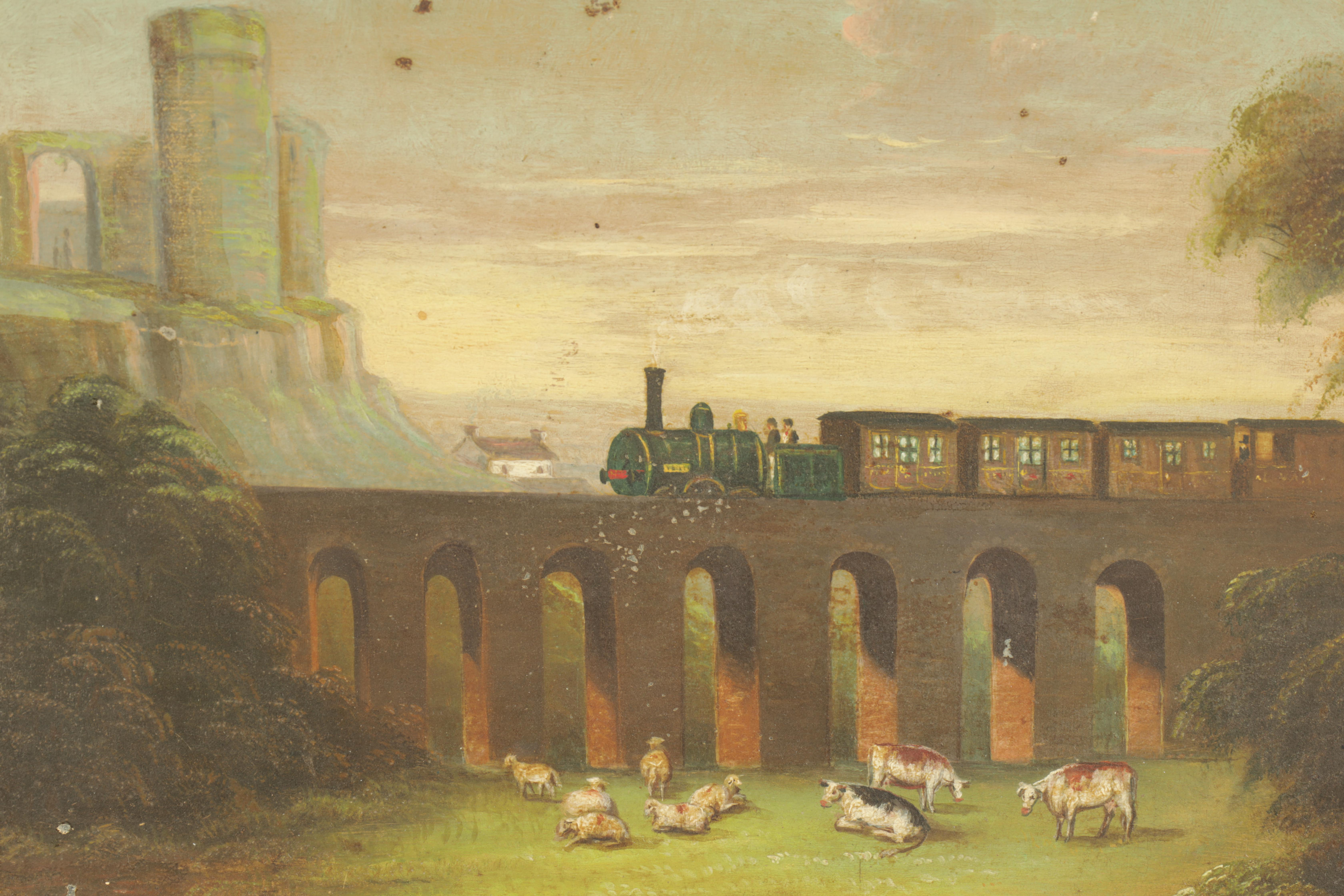 A 19TH CENTURY NIAEVELY PAINTED OILON TIN depicting a steam train on a viaduct with cattle in the - Image 2 of 3