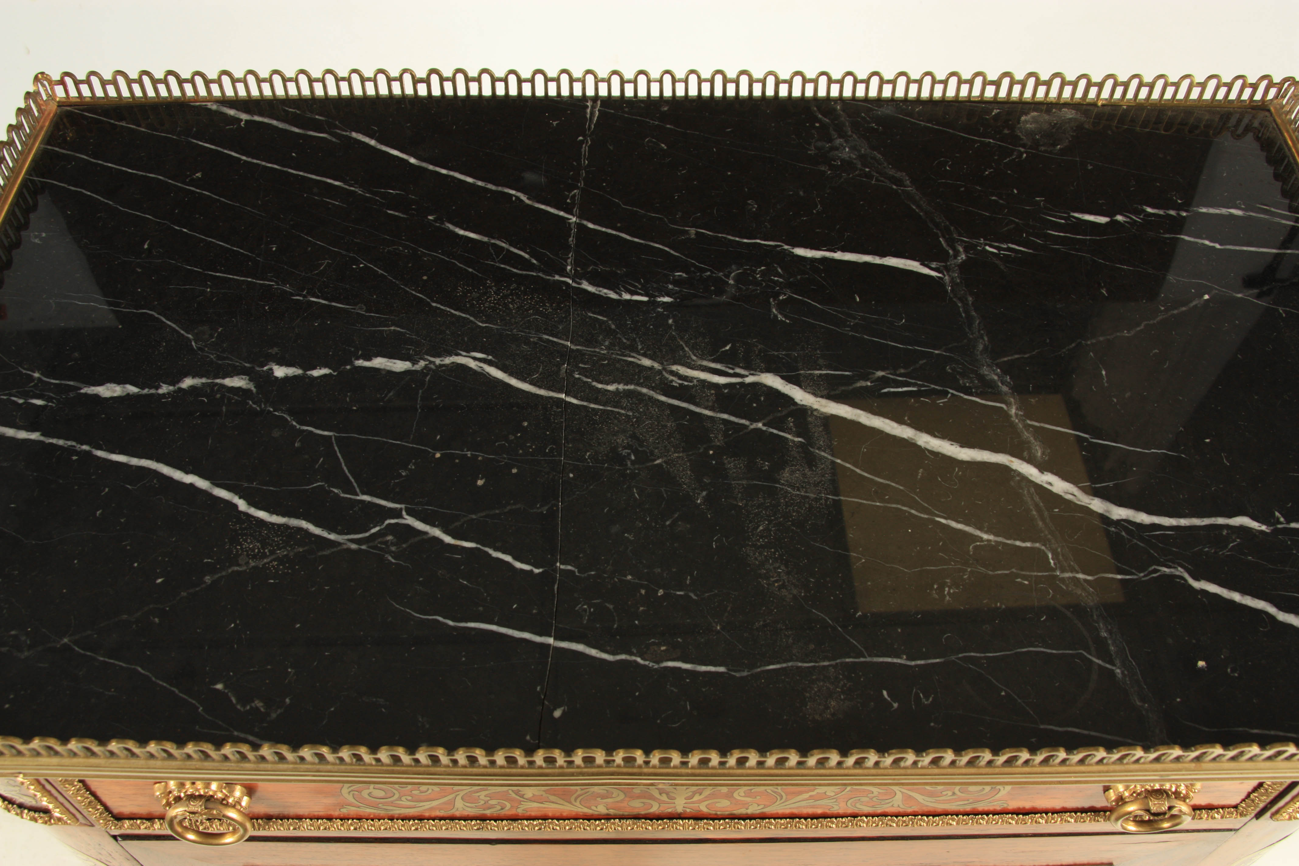 A FINE REGENCY BRASS INLAID ROSEWOOD SIDE CABINET IN THE MANNER OF JOHN MCCLEAN the brass - Image 5 of 7
