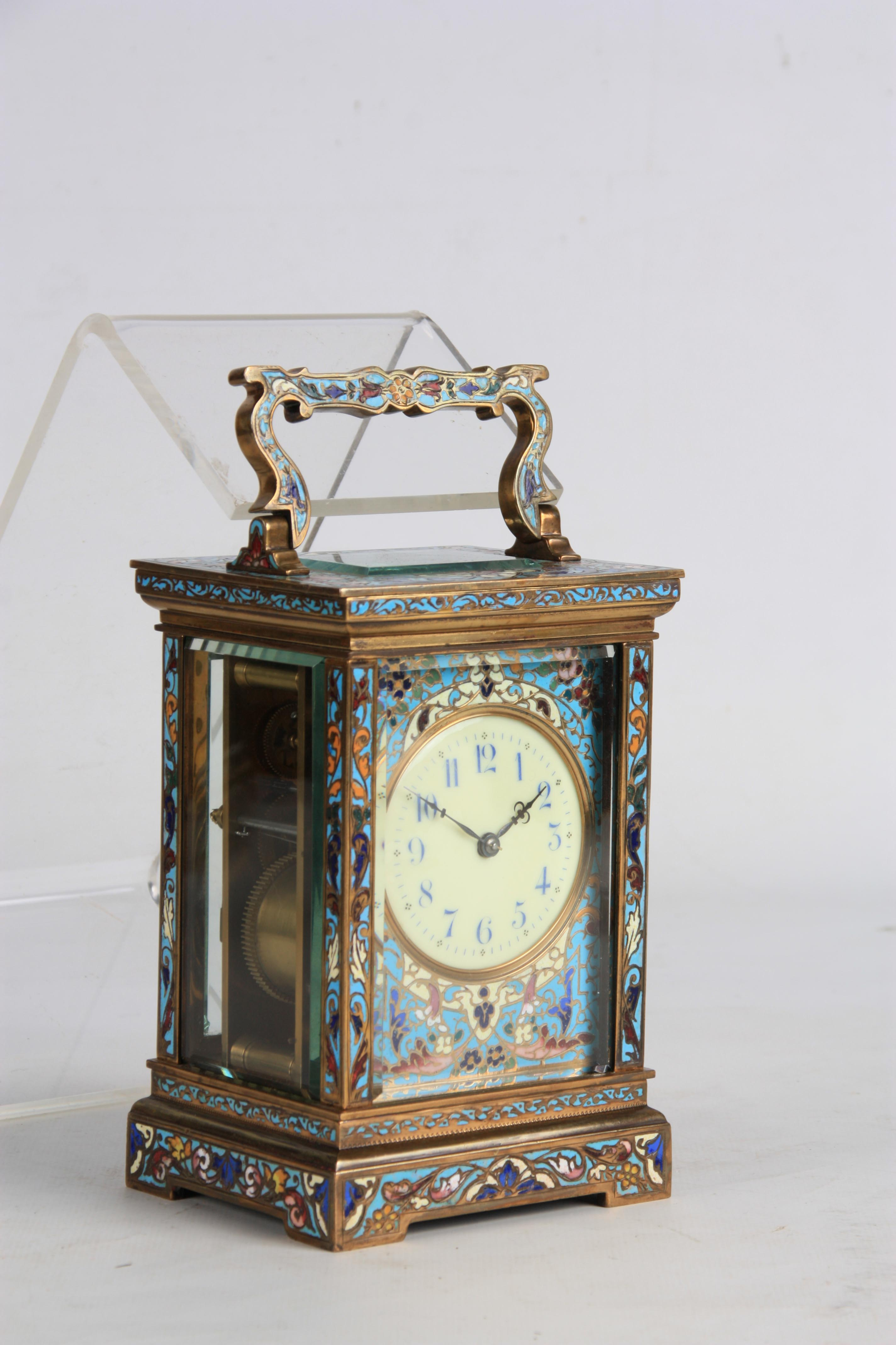 A LATE 19TH CENTURY FRENCH CHAMPLEVE ENAMEL STRIKING CARRIAGE CLOCK the case covered in champleve - Image 3 of 6