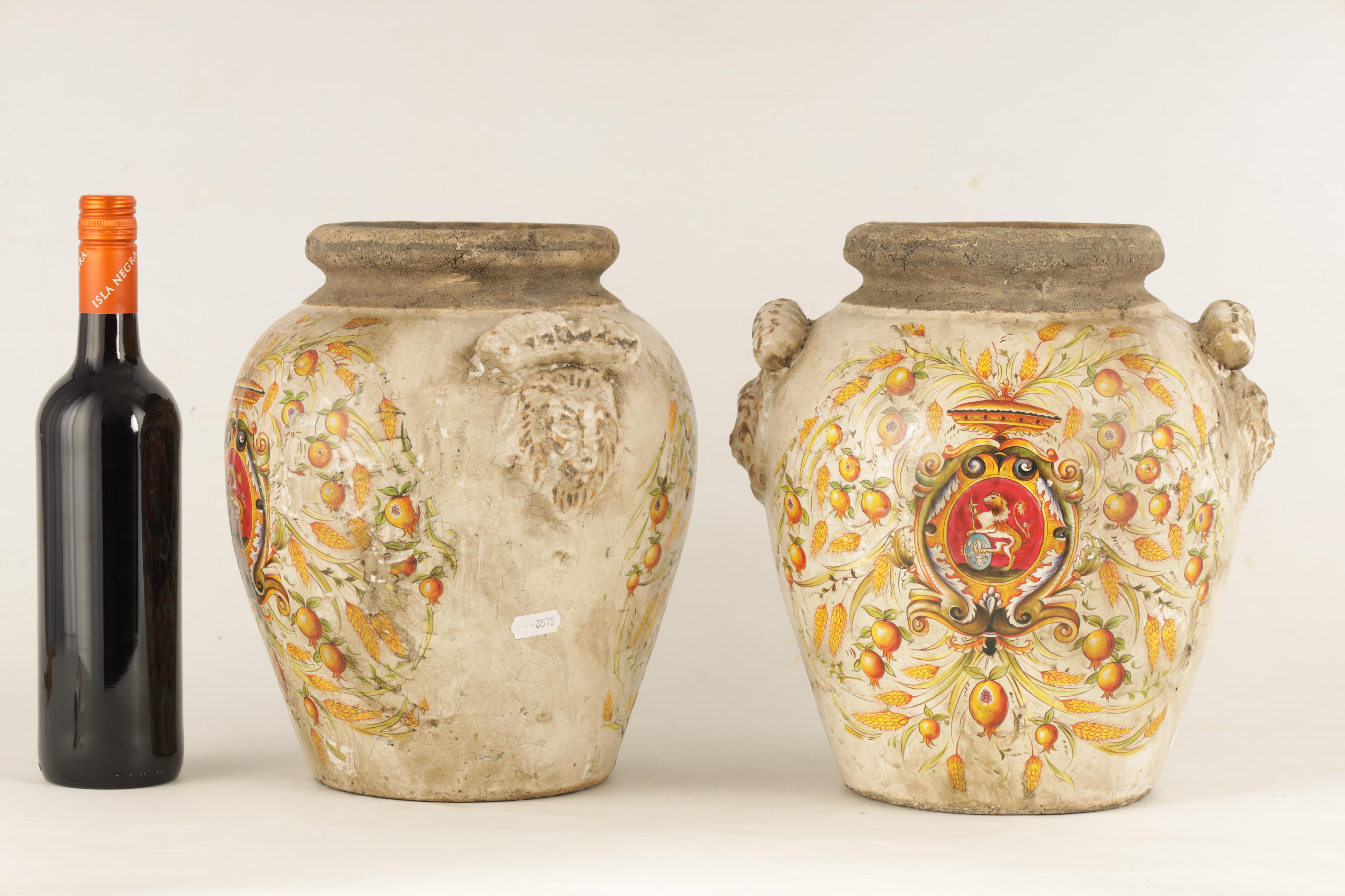 A PAIR OF EARLY ITALIAN EARTHENWARE ARMORIAL VASES with lion mask handles and painted armorials - Image 2 of 8