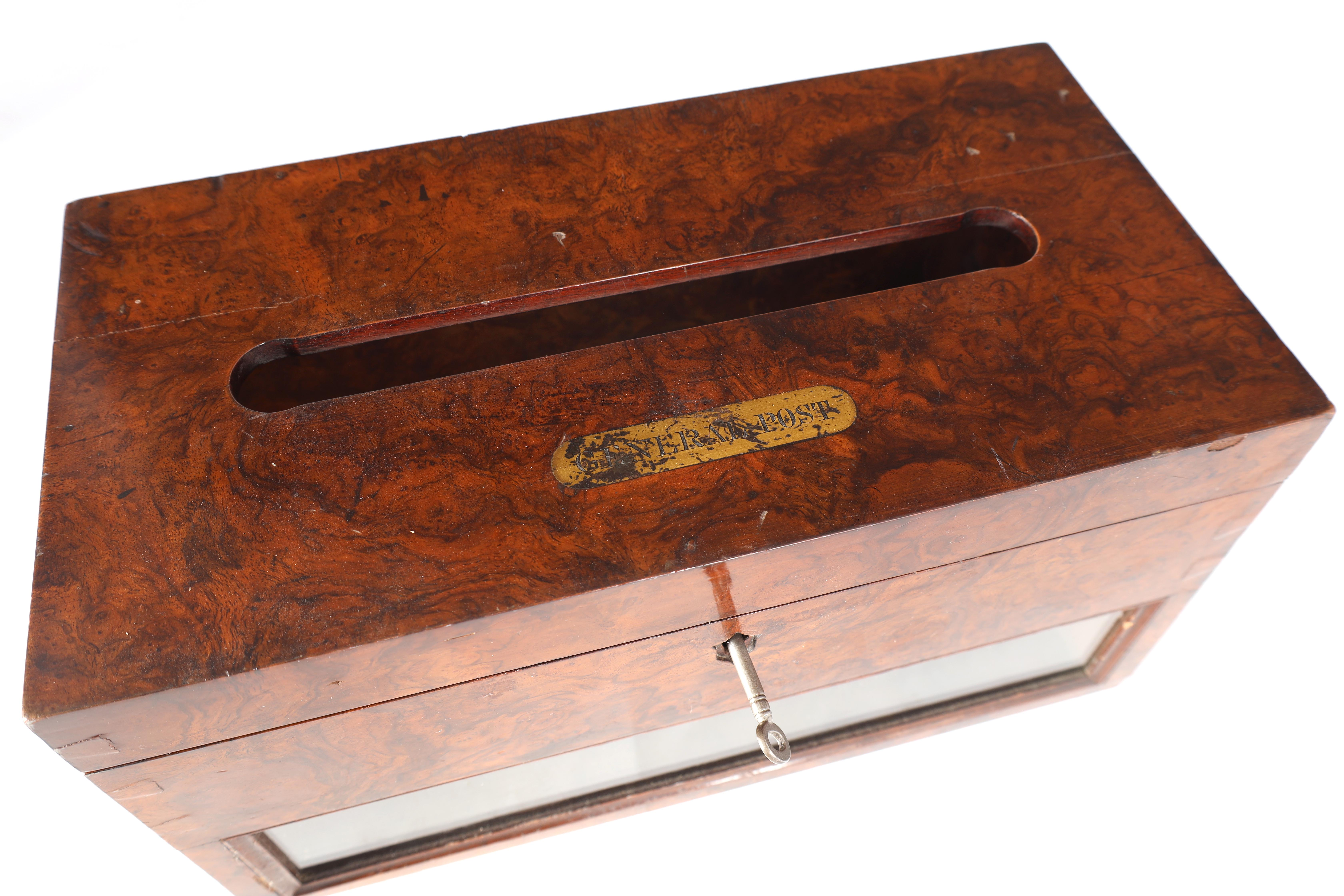 A 19TH CENTURY BURR WALNUT COUNTRY HOUSE LETTERBOX with brass inlaid plaque engraved General Post, - Image 3 of 7