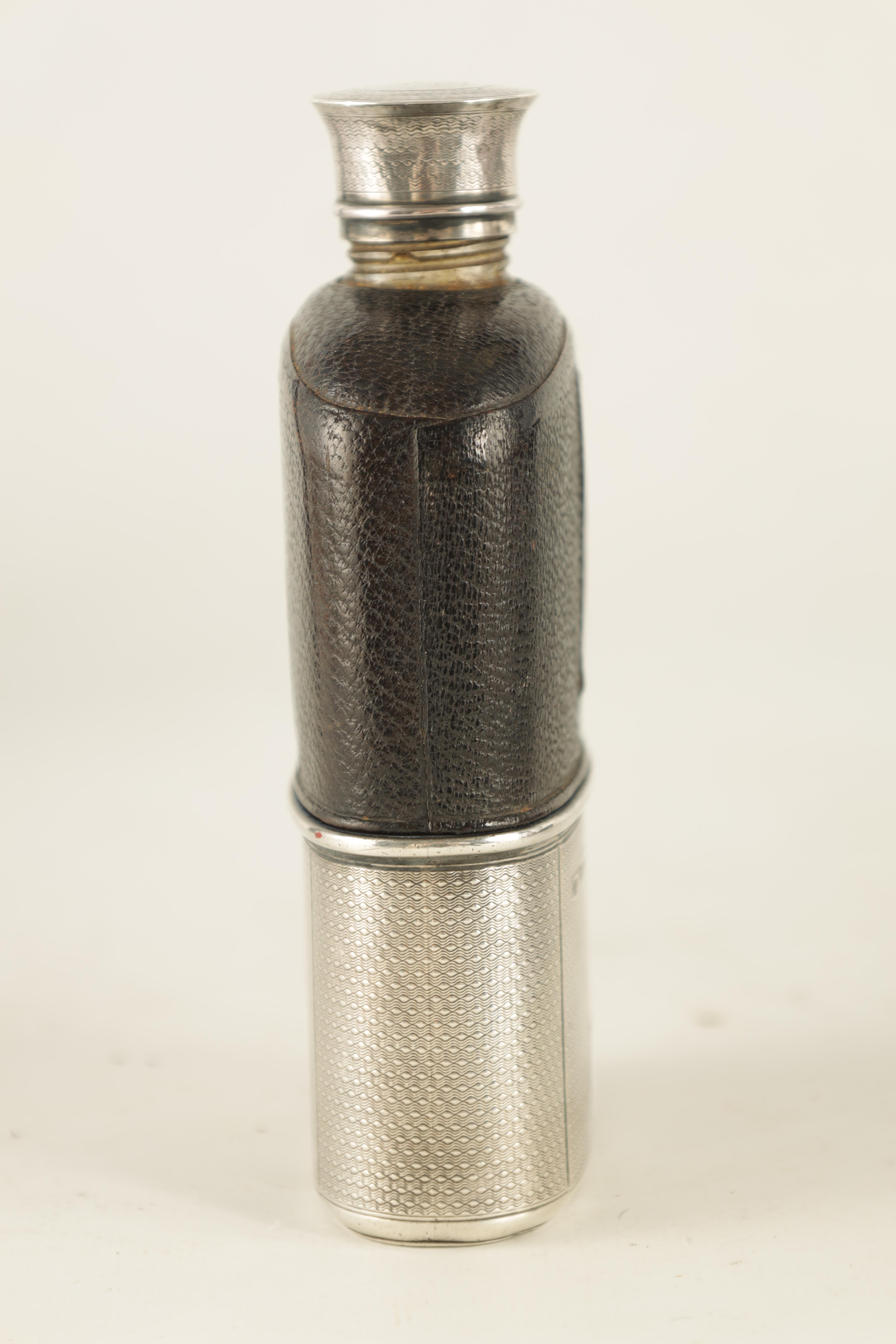 A VICTORIAN SILVER AND MOROCCAN LEATHER HIP FLASK RETAILED BY ASPREY 186 BOND STREET with engine- - Image 5 of 8