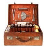 A FINE VICTORIAN CROCODILE SKIN LADIES TRAVELLING CASE BY DREW & SONS PICCADILLY CIRCUS, LONDON with